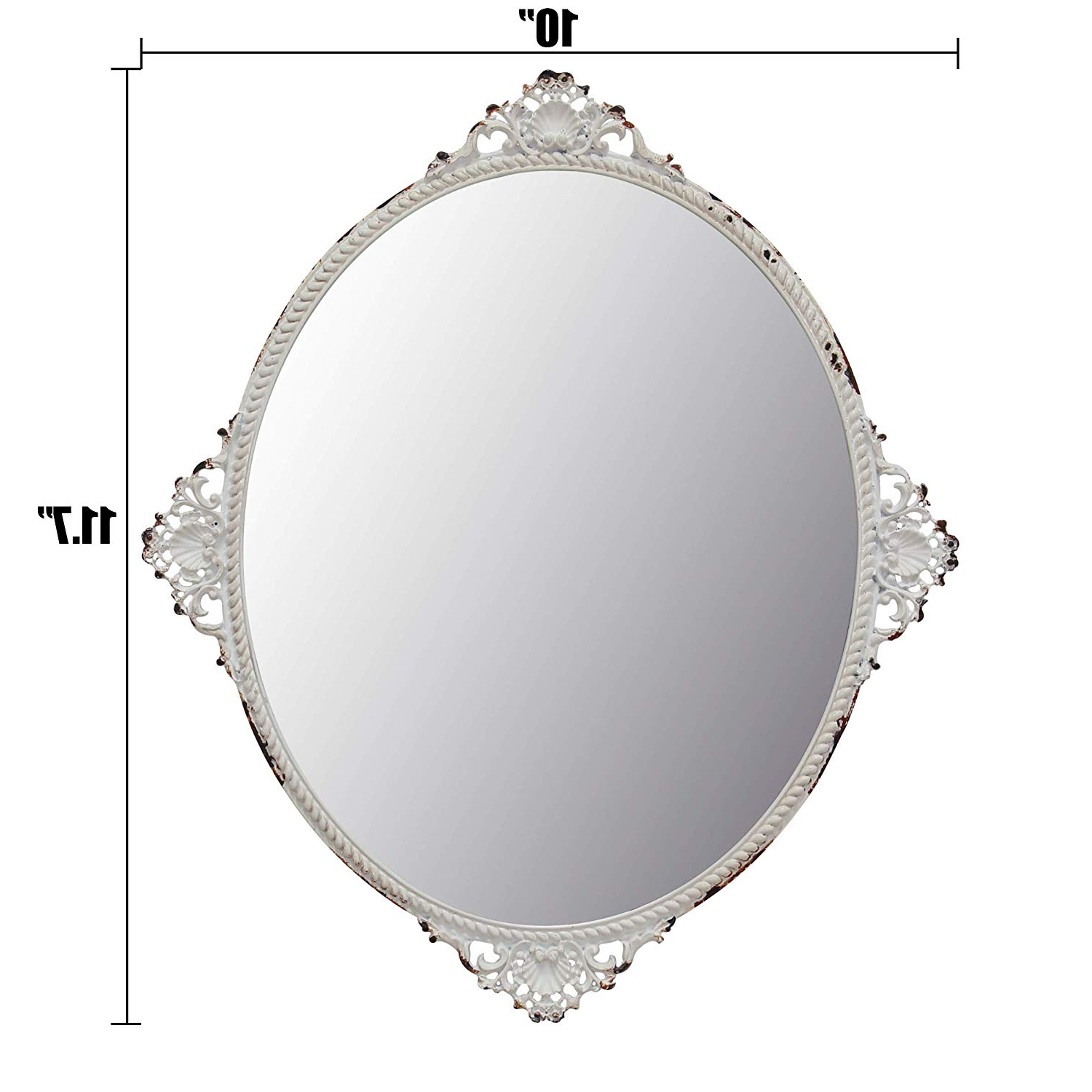 Most Recently Released Decorative Bedroom Wall Mirrors With Regard To Stonebriar Decorative Oval Antique White Metal Wall Mirror, Vintage Home  Décor For Living Room, Kitchen, Bedroom, Or Hallway, French Country Decor, (View 13 of 20)