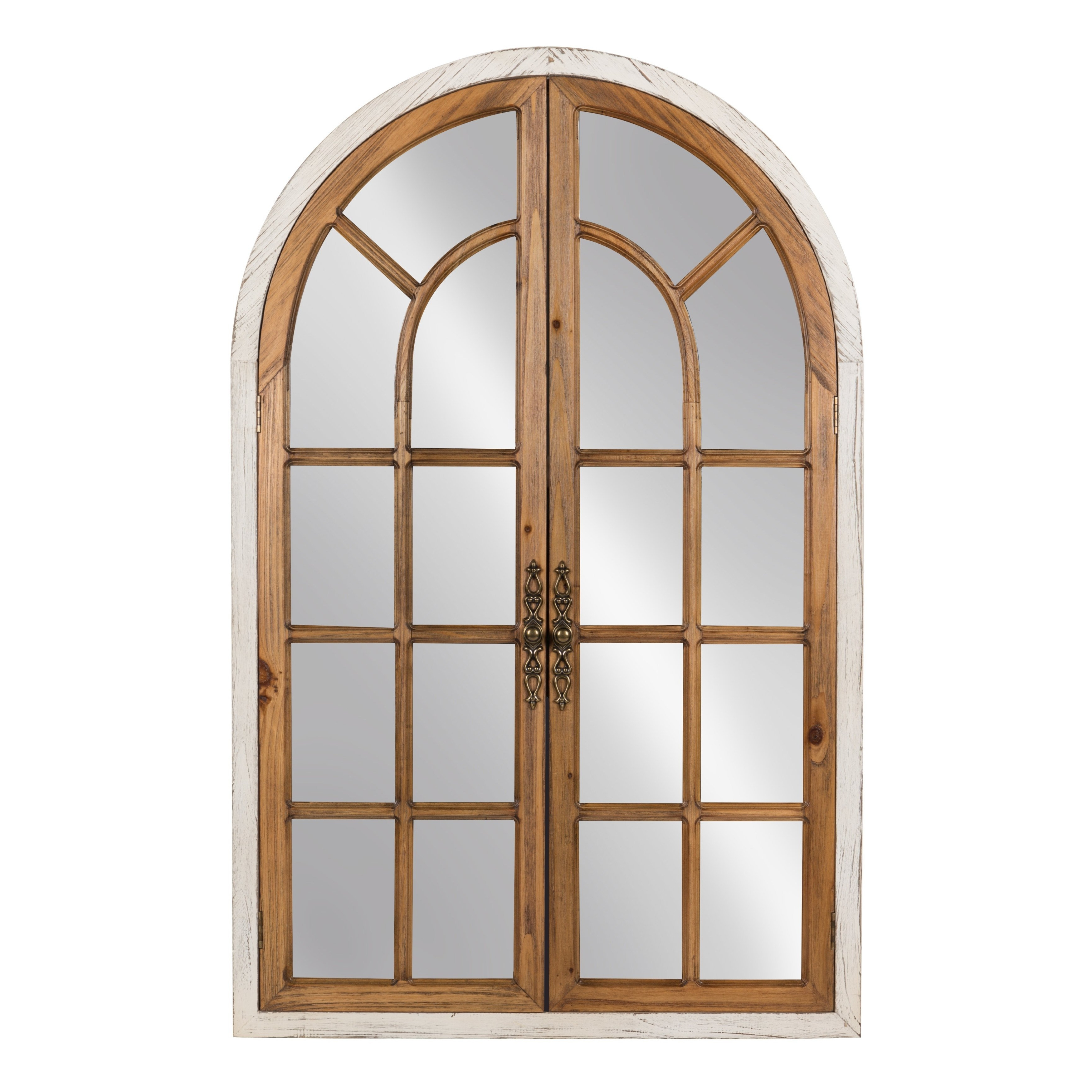 Most Recently Released Faux Window Wood Wall Mirrors With Kate And Laurel Boldmere Wood Windowpane Arch Mirror (Brown/white (Gallery 20 of 20)