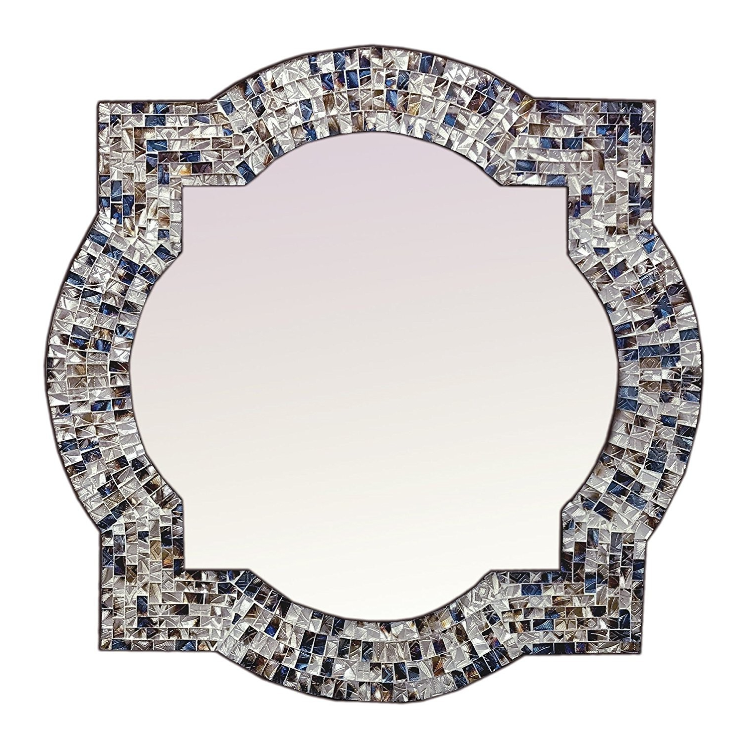 """Most Recently Released Glass Mosaic Wall Mirrors Regarding Andalusian Quatrefoil Mirror, Lindaraja Designer Mosaic Glass Framed Wall Mirror, 24""""x24"""" Colorful Wall Mirror (Multi Silver) (View 20 of 20)"""