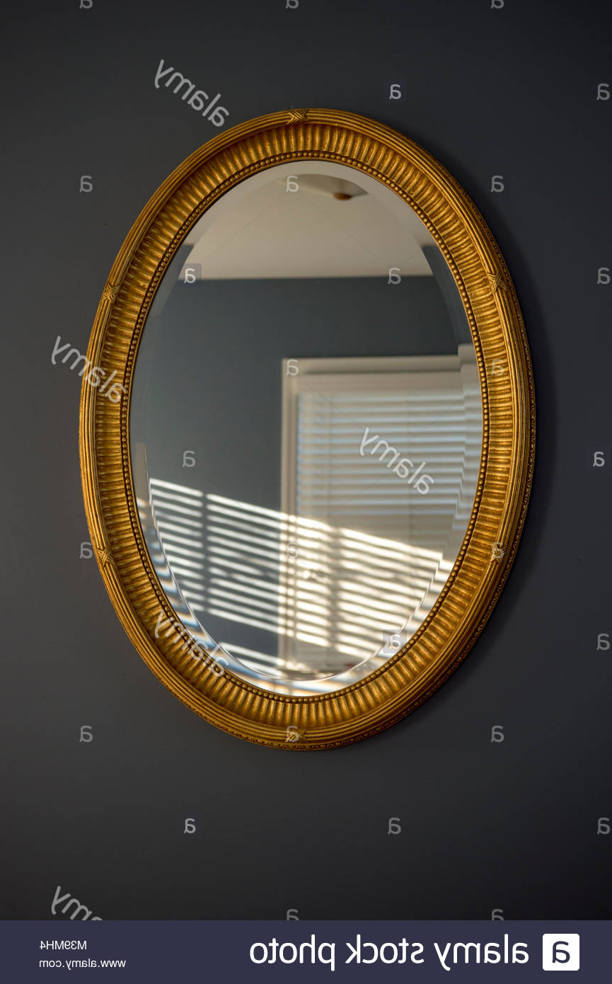 Most Recently Released Gold Framed Oval Mirror Hung On Grey Wall, Reflecting Intended For Reflection Wall Mirrors (View 19 of 20)