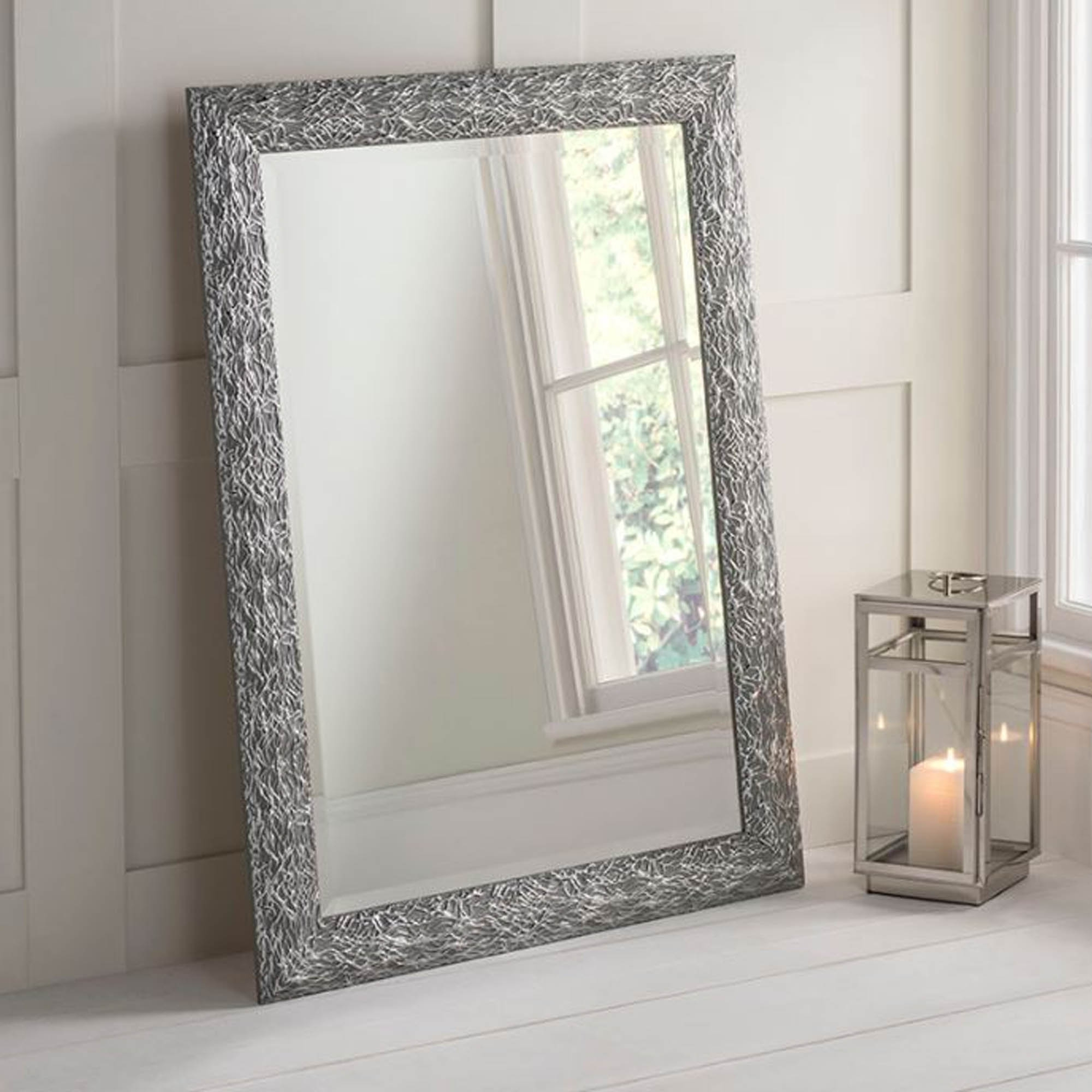 Most Recently Released Grey Wall Mirrors Throughout Detailed Rectangular Grey And Silver Wall Mirror (View 2 of 20)