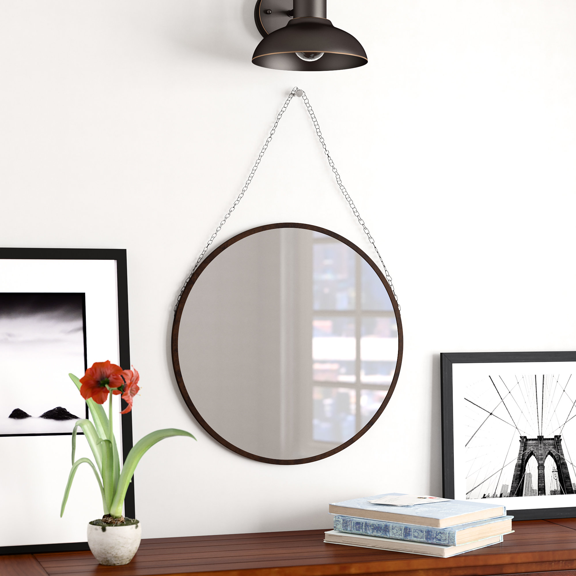 Most Recently Released Hardison With Chain Hanger Accent Mirror Inside Rhein Accent Mirrors (View 19 of 20)