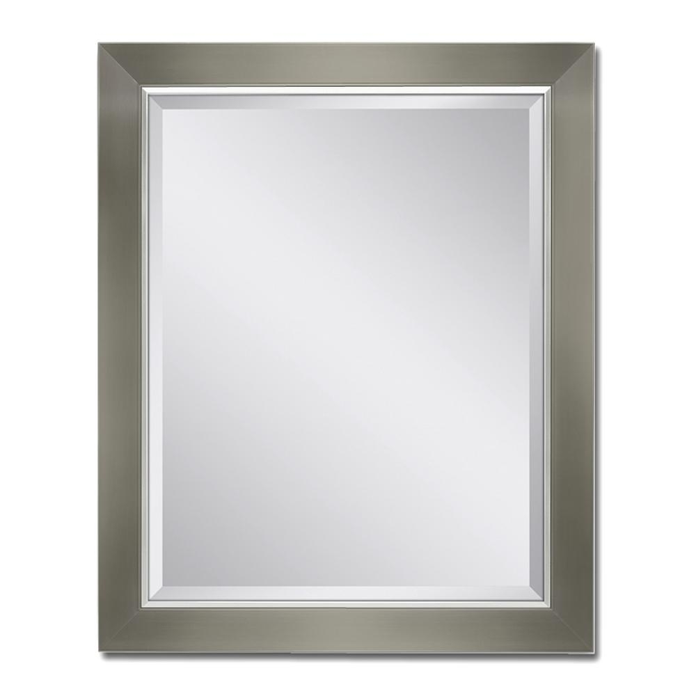 Most Recently Released Hogge Modern Brushed Nickel Large Frame Wall Mirrors With At Brushed Nickel Wall Mirror Deco 28 In W X 3 # (View 10 of 20)