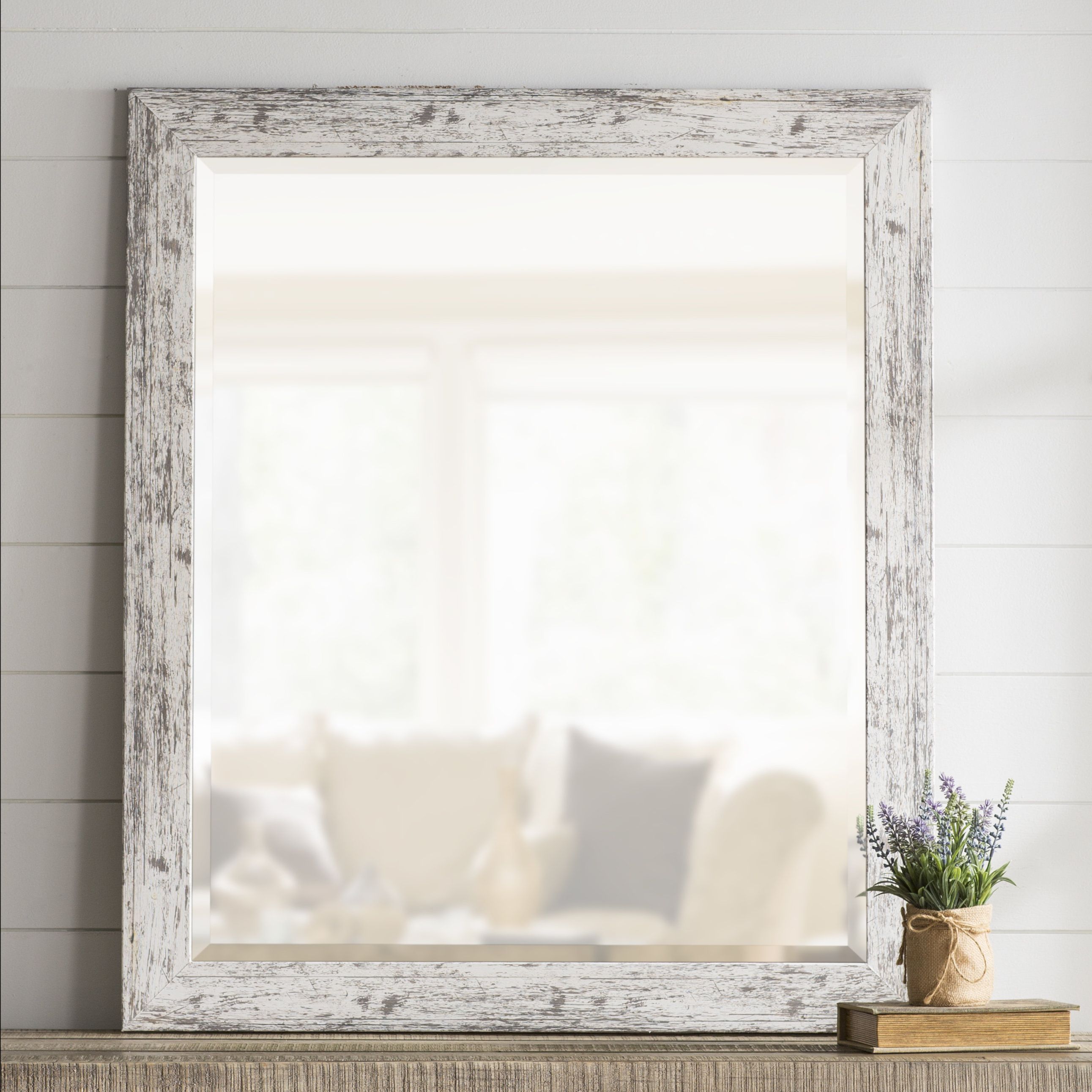 Most Recently Released Lagrange Weathered Farmhouse Accent Wall Mirror Regarding Rectangle Accent Wall Mirrors (View 8 of 20)