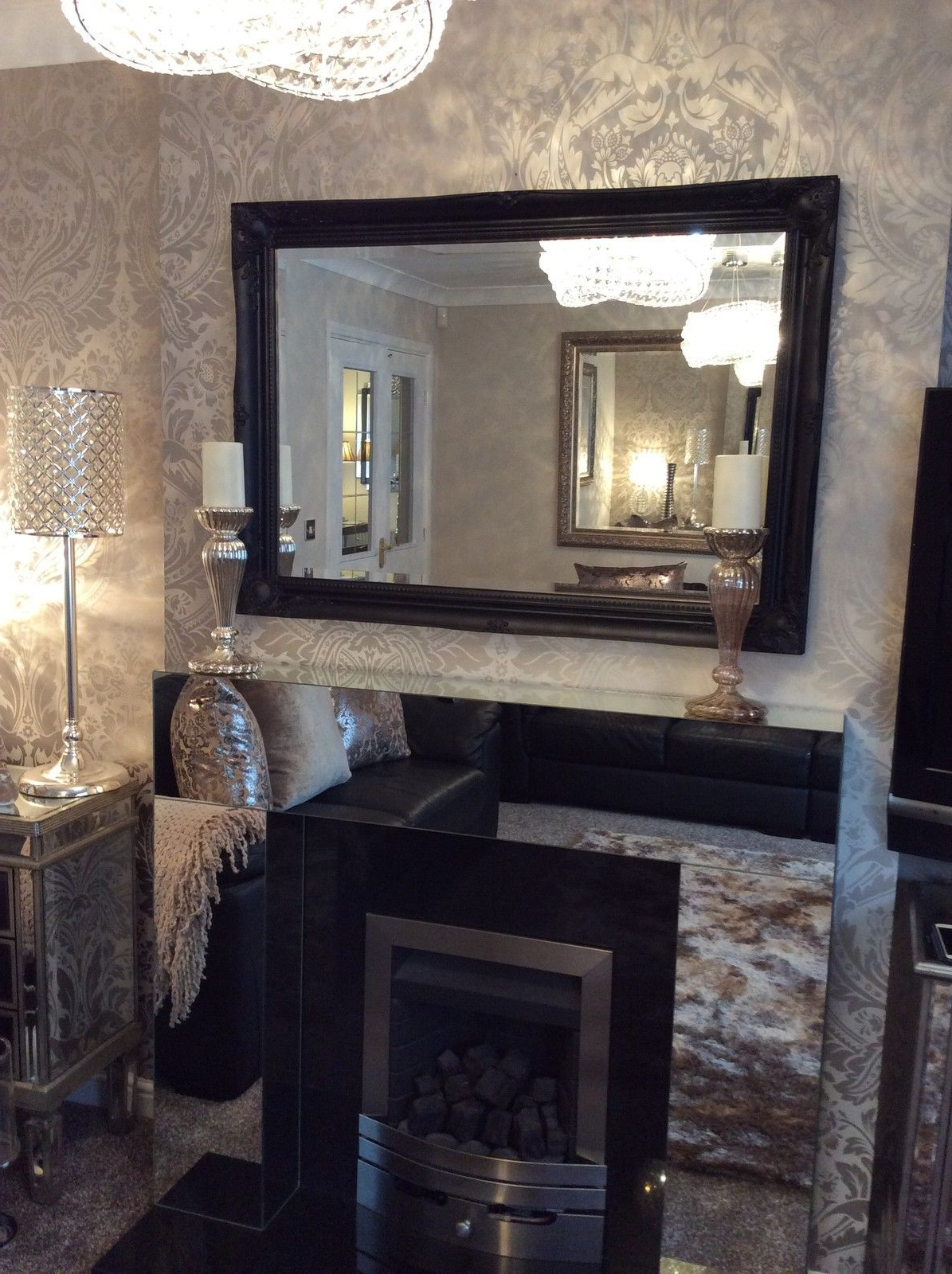Most Recently Released Large Black Stunning Decorative Swept Wall Mirror – Bevelled Glass *new* Inside Decorative Black Wall Mirrors (View 20 of 20)