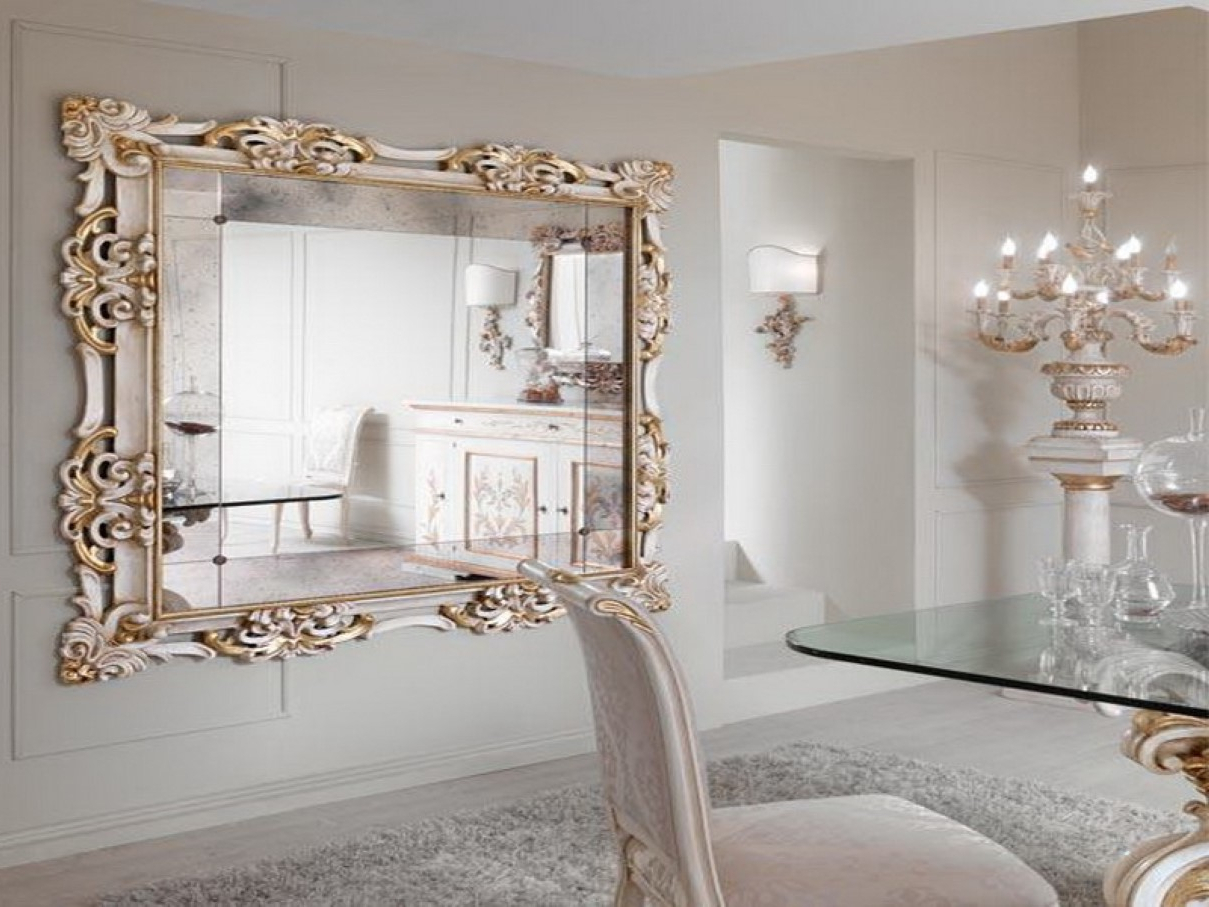 Most Recently Released Large Living Room Mirrors Wall For Ifresh Wood Framed Fray White With Horizontal Decorative Wall Mirrors (View 14 of 20)