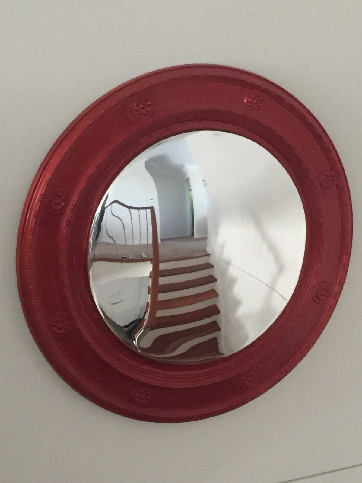 Most Recently Released Large Red Wall Mirrors For Large 80cm Wall Mirror Round Convex Metalic Red (View 14 of 20)