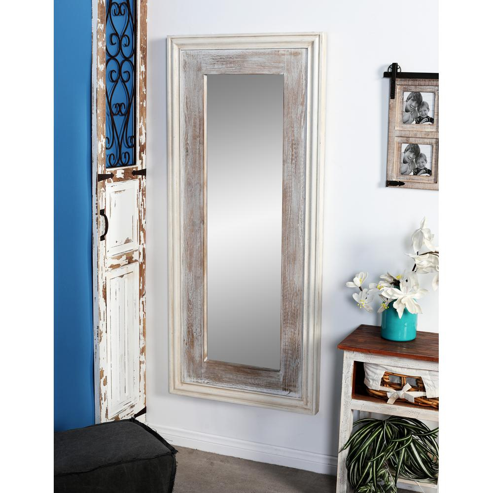 Most Recently Released Long Rectangular Wall Mirrors In Litton Lane Rectangular Rustic White Door/wall Mirror 77932 – The (View 12 of 20)