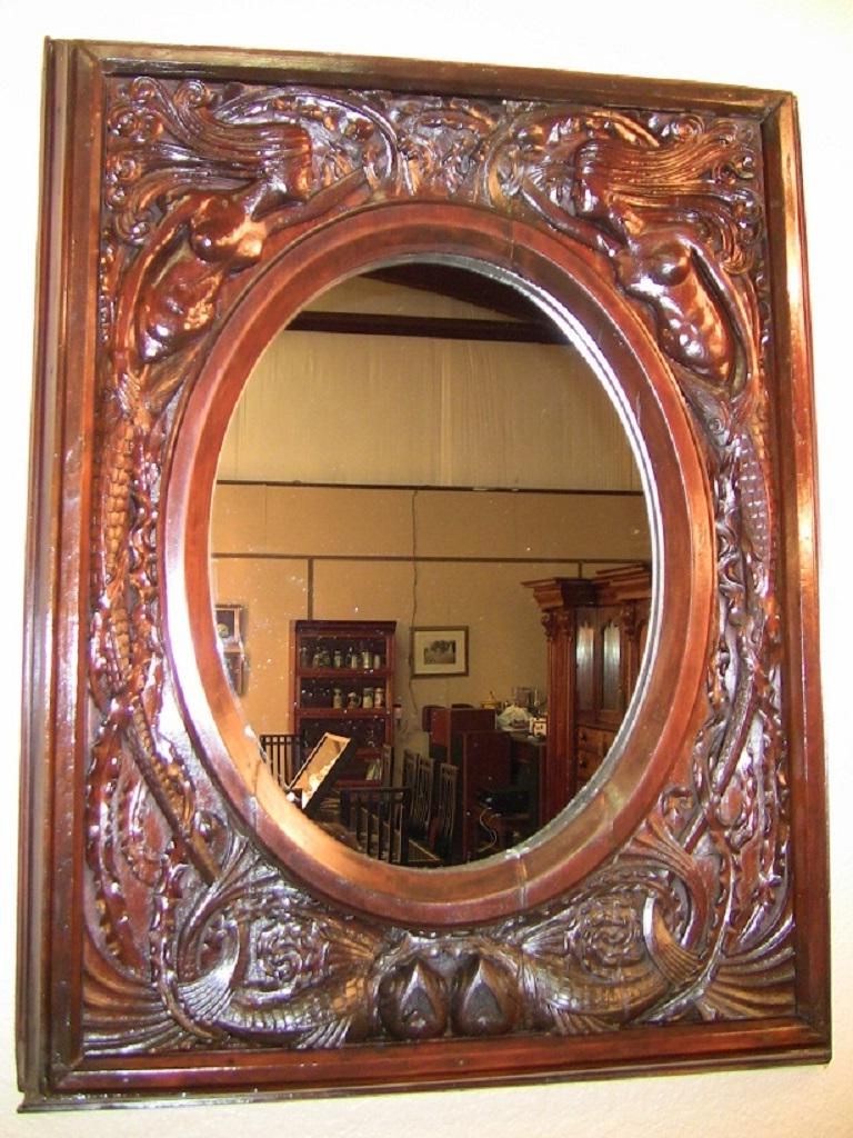 Most Recently Released Mermaid Wall Mirrors In 19Th Century American Dark Walnut Wall Mirror With Mermaids (View 10 of 20)
