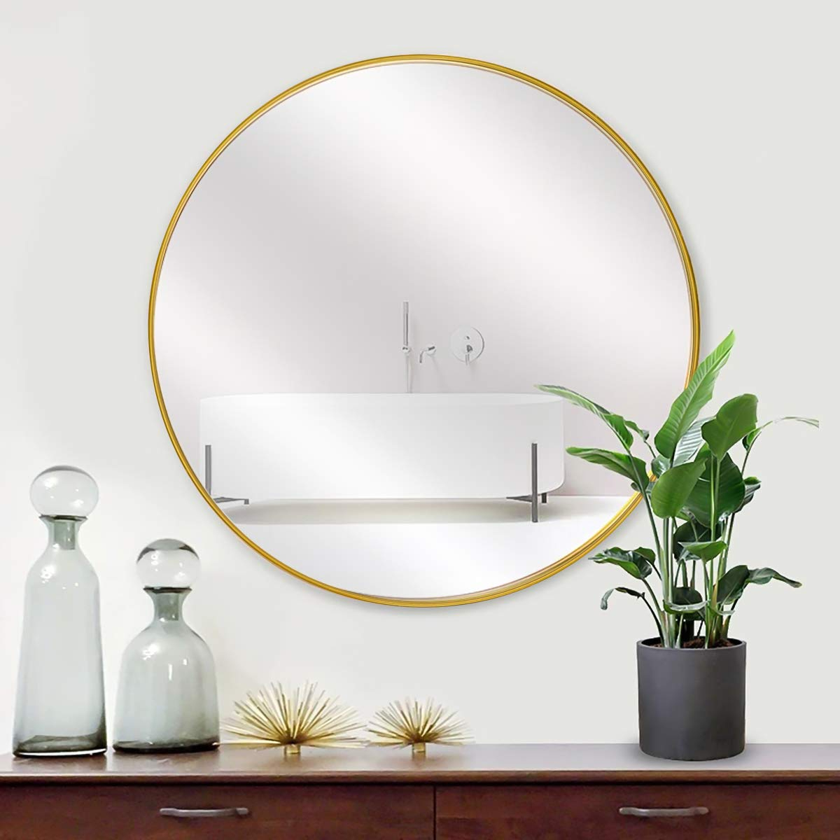 "Most Recently Released Metal Frame Wall Mirrors With Morigem Round Mirror, 26"" Large Wall Mirror, (View 19 of 20)"