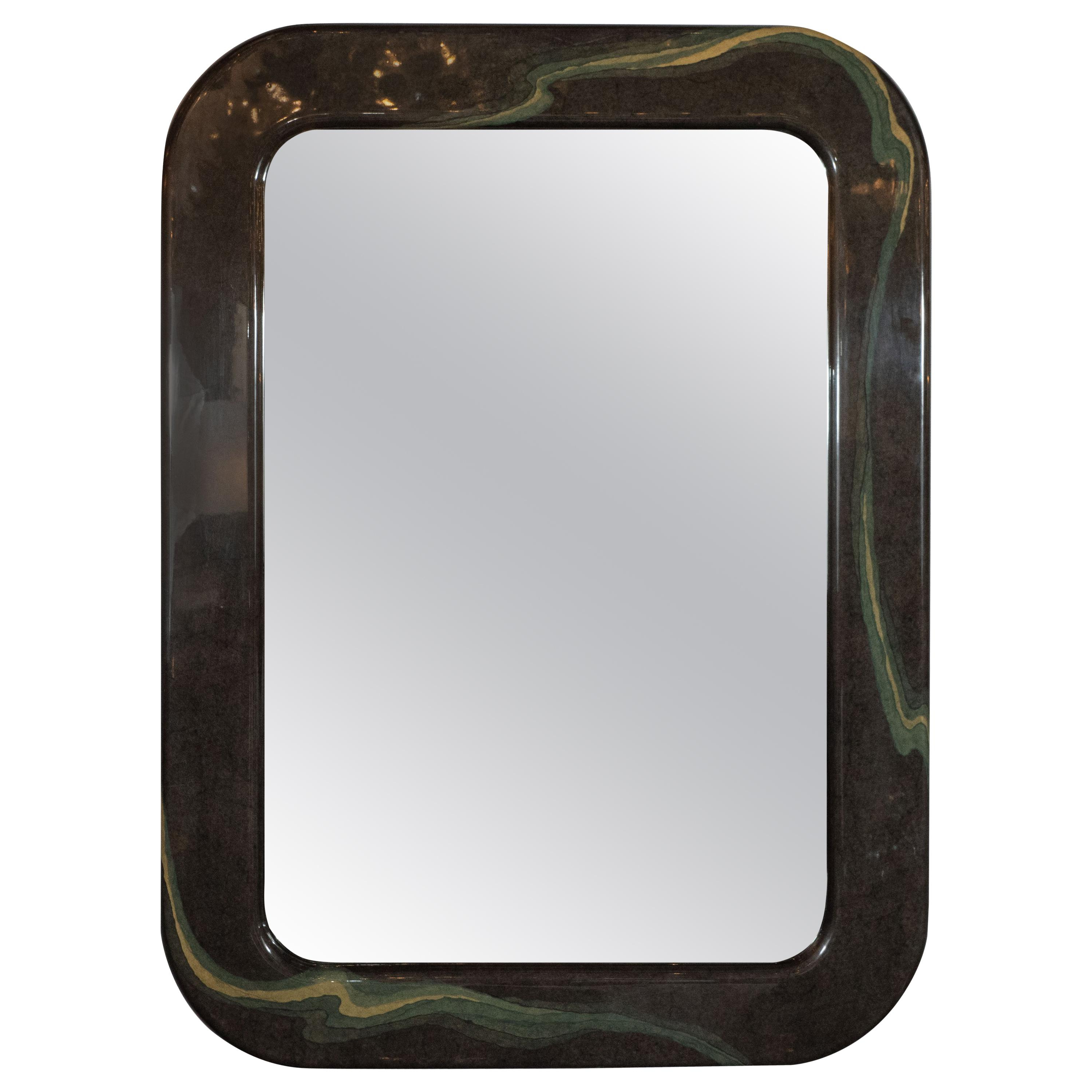 Most Recently Released Mid Century Modern Wall Mirrors Within Mid Century Modern Olive Gray Resin Wall Mirror With Amorphic Swirl  Detailing (View 15 of 20)