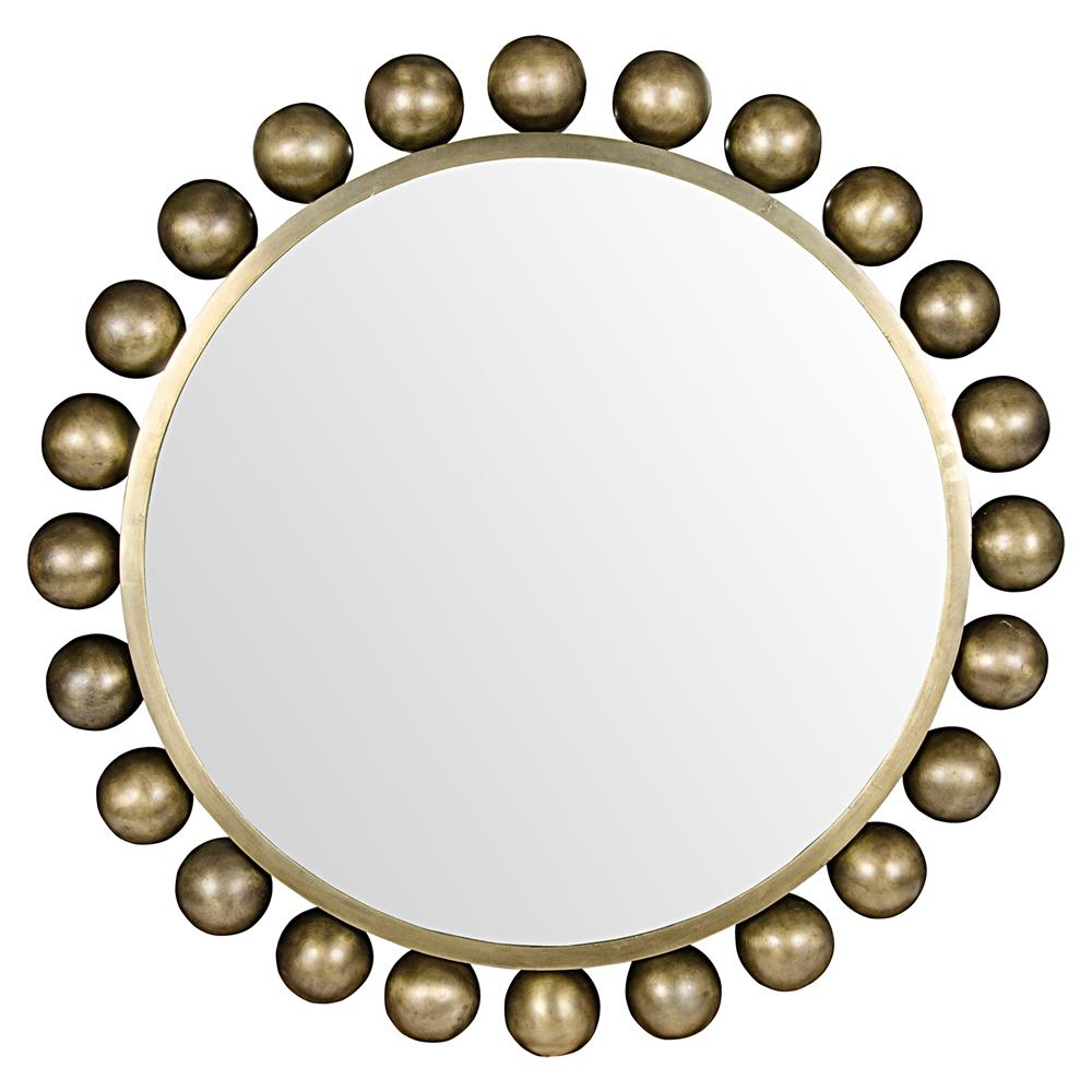 Most Recently Released Minerva Accent Mirrors In Minerva Modern Antique Brass Metal Orb Accent Wall Mounted Mirror – 33D (Gallery 6 of 20)