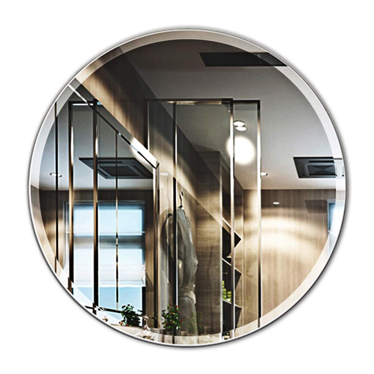 Most Recently Released Mirror Trend 28 Inches Round Frameless Mirror Large Beveled Wall Mirror Solid Core Wood Backing Wall Mirror For Bathroom, Vanity, Living Room, Bedroom In Large Frameless Wall Mirrors (View 18 of 20)