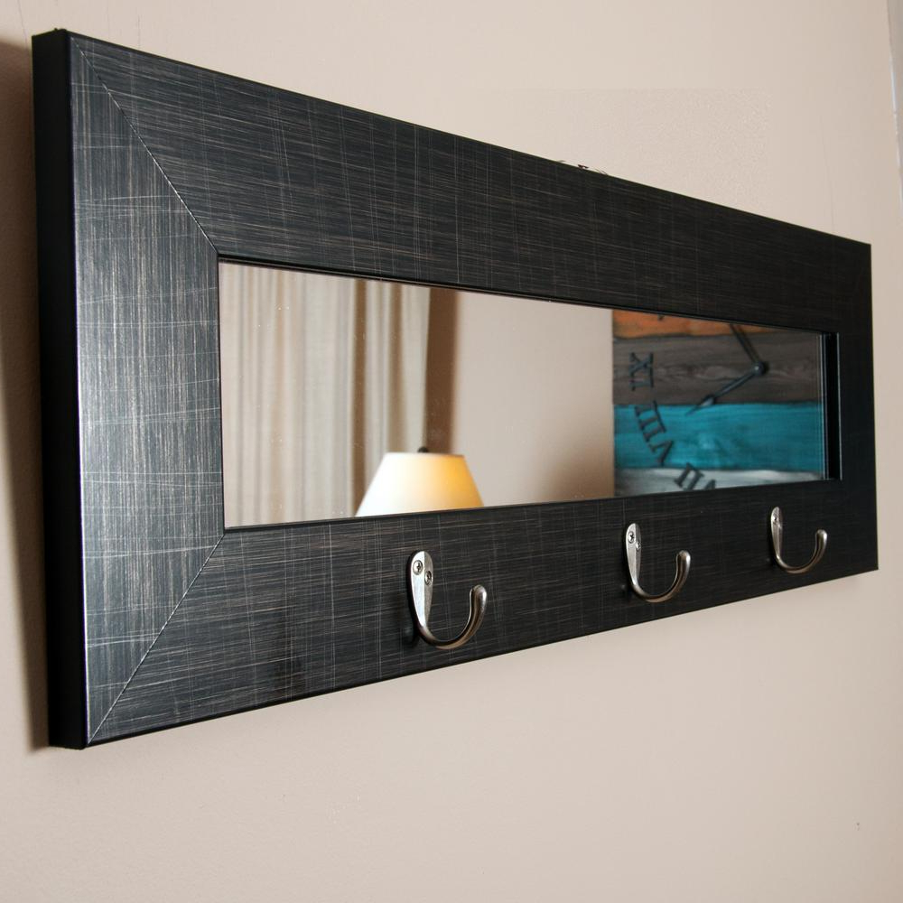 Most Recently Released Modern Black Wall Mirrors For Last Look Scratched Black Wall Mirror With Hooks (View 16 of 20)