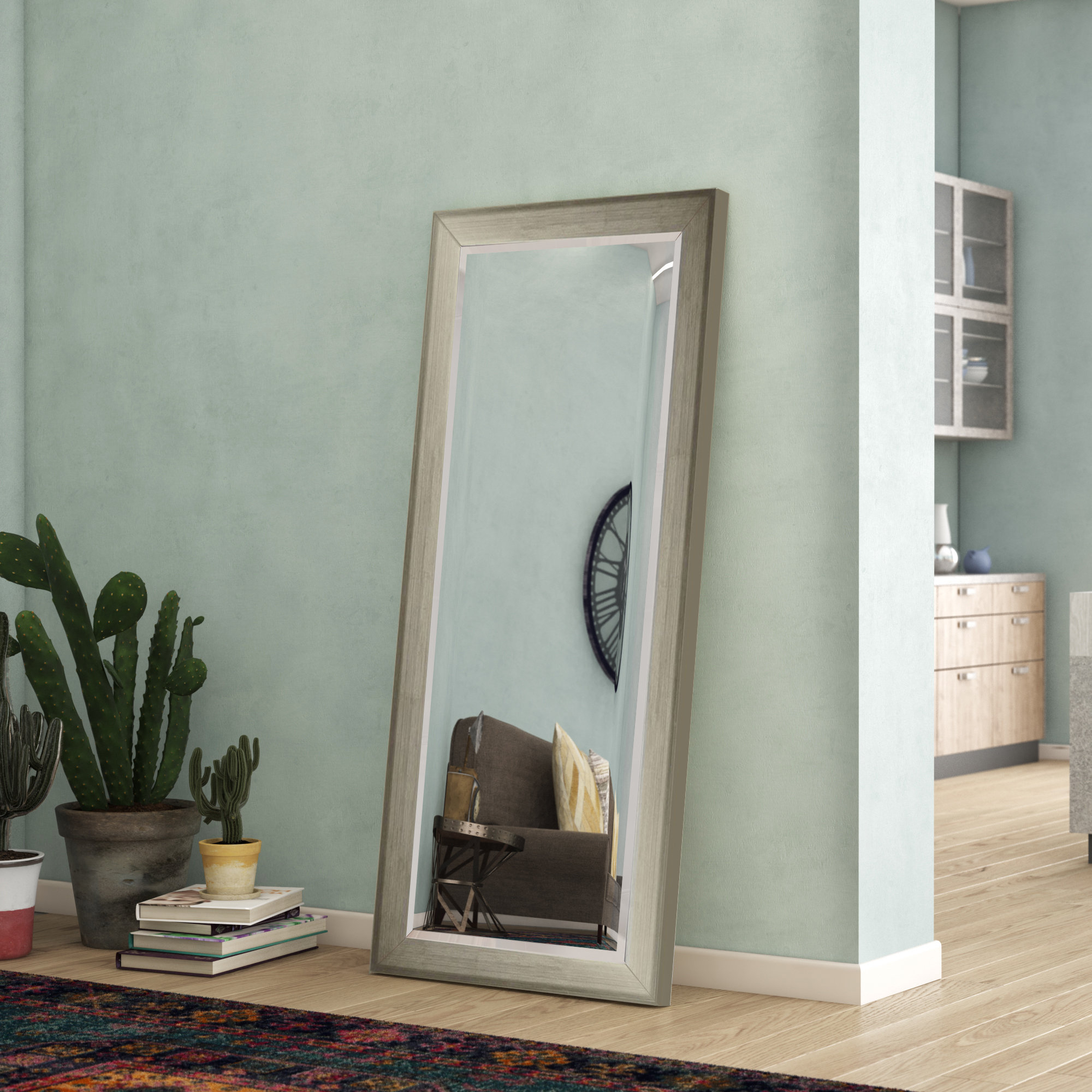 Most Recently Released Modern & Contemporary Beveled Overmantel Mirrors Within Brushed Silver Tone Full Length Modern & Contemporary Beveled Accent Mirror (View 7 of 20)