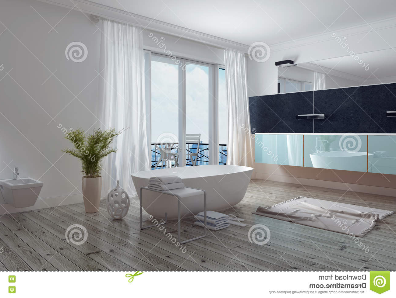 Most Recently Released Modern Stylish White Bathroom With Patio Stock Image – Image Regarding Floor To Ceiling Wall Mirrors (View 16 of 20)
