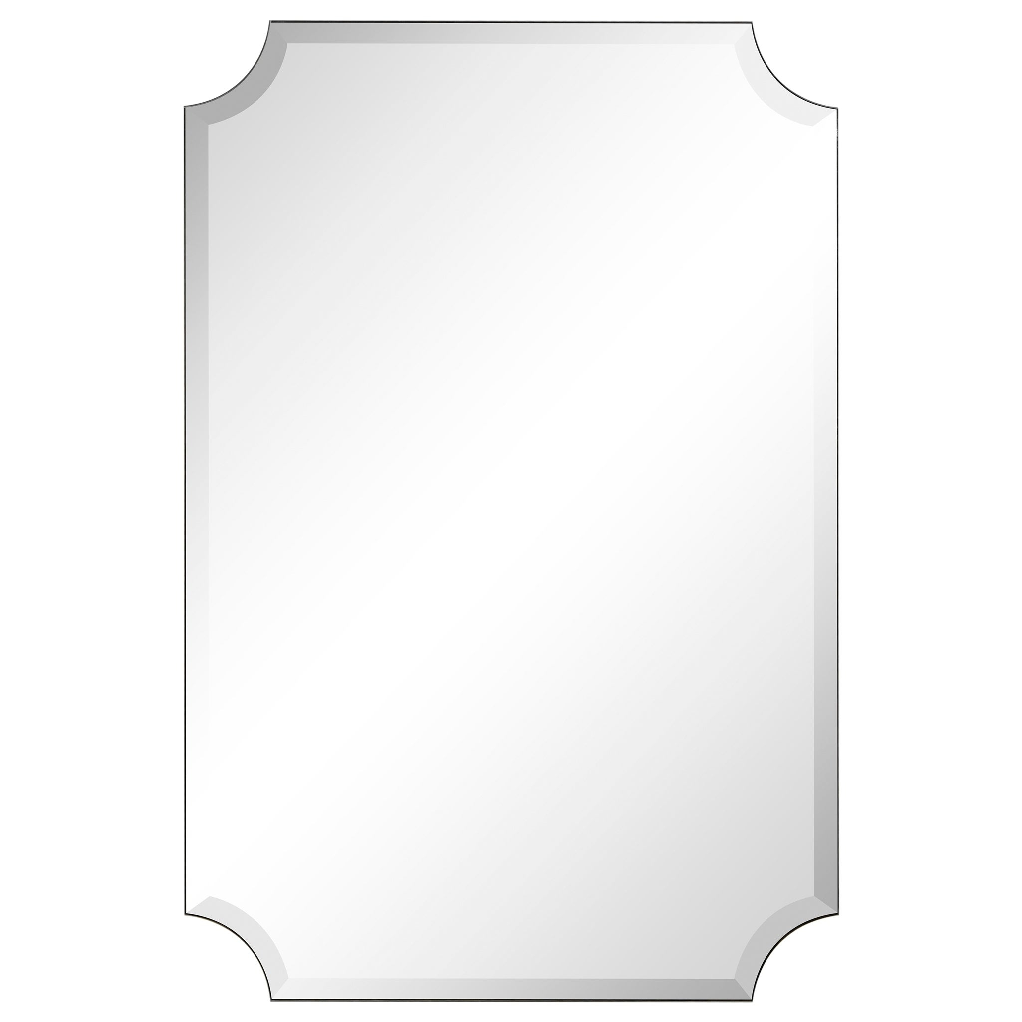"Most Recently Released Reign Frameless Oval Scalloped Beveled Wall Mirrors Inside Frameless Rectangle Scalloped Beveled Mirror, Bathroom, Vanity, Bedroom  Mirror,1"" Beveled Edge – Clear (View 10 of 20)"