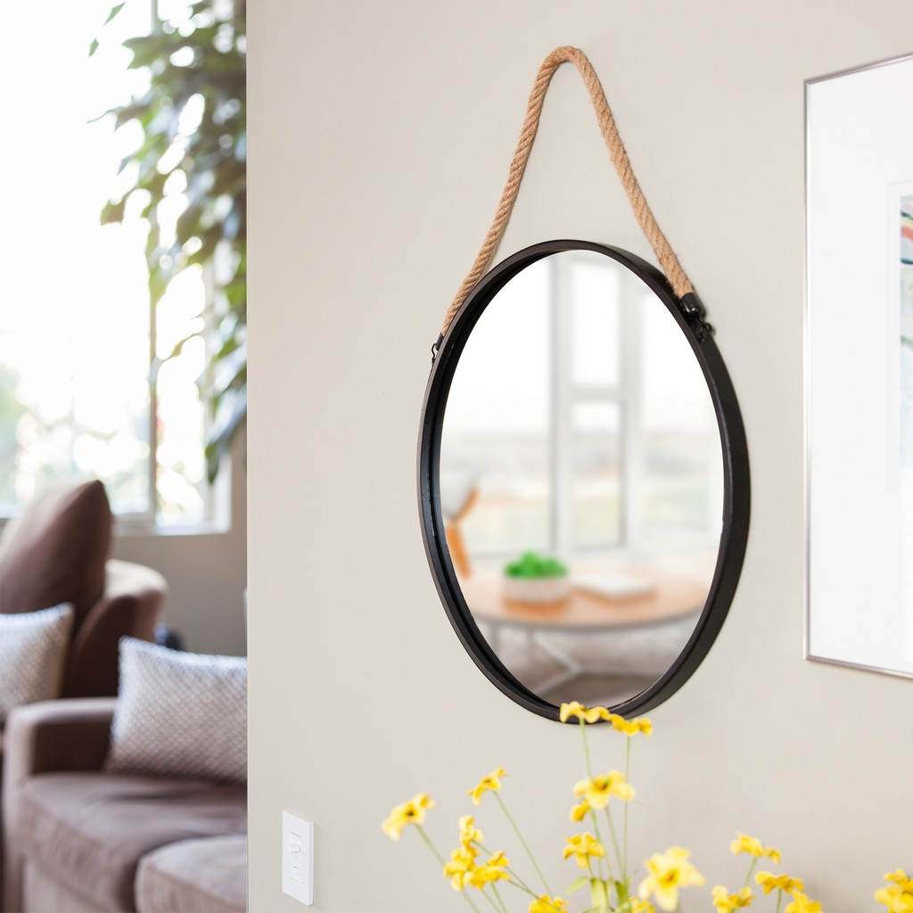 """Most Recently Released Round Metal Wall Mirrors Pertaining To Framed 20"""" Decorative Round Black Metal Circle Wall Mirror (View 16 of 20)"""