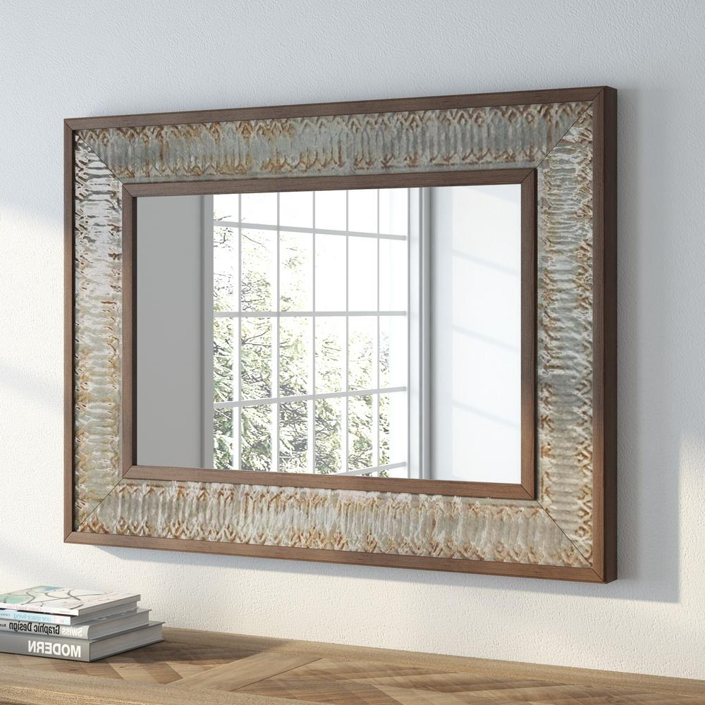 Most Recently Released Rustic Wood Wall Mirrors Within Litton Lane 39 In. X 29 In (View 8 of 20)