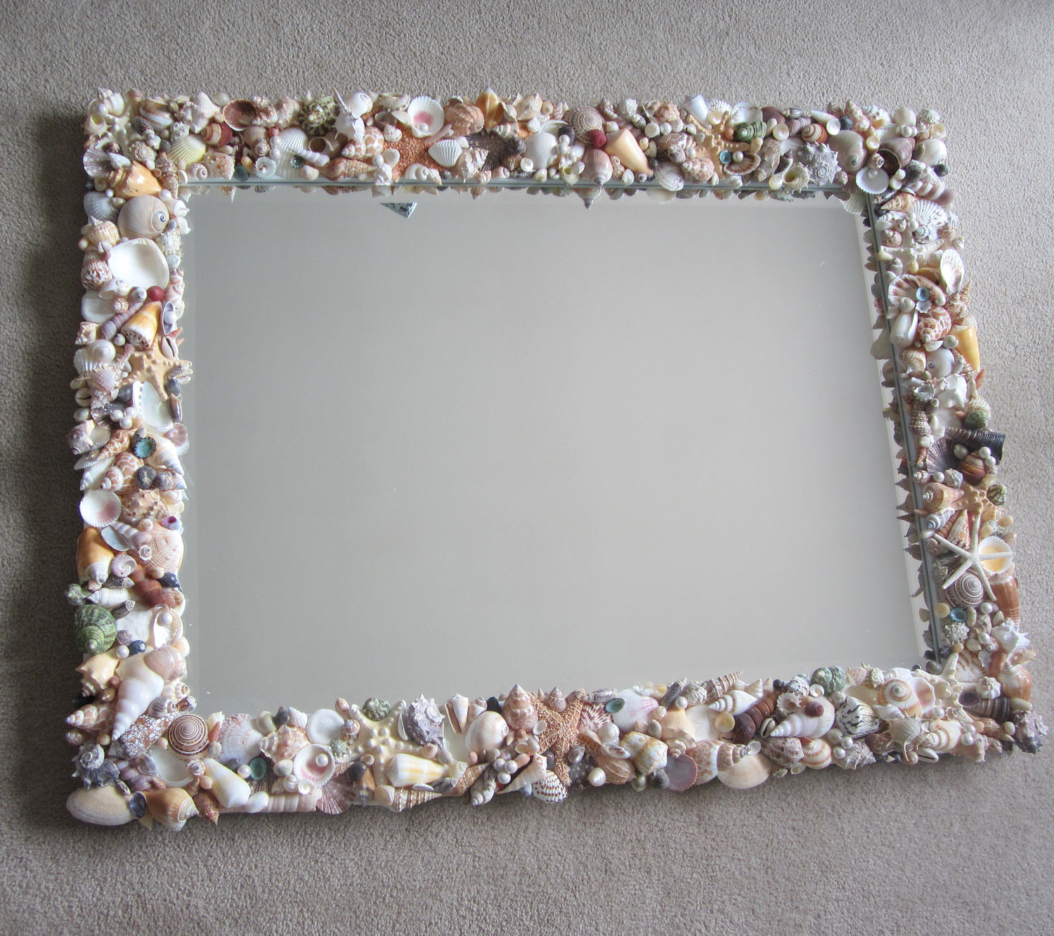 Most Recently Released Seashell Wall Mirrors In Seashell Mirrors For Beach Decor – Nautical Decor Shell Mirror In Natural Or All White, Lg Rectangular (View 6 of 20)