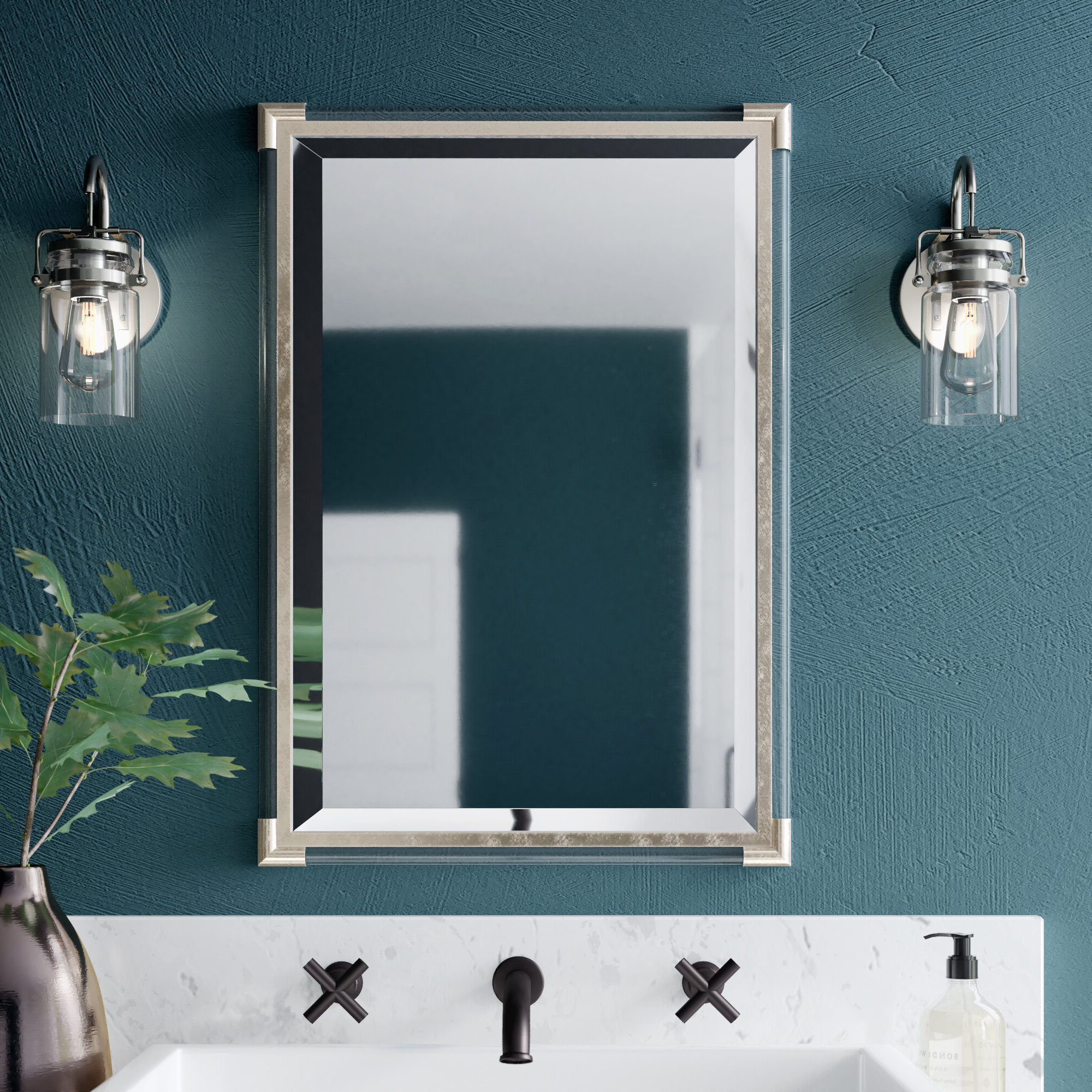 Most Recently Released Silver Framed Wall Mirrors Within Marta Silver Frame Accent Wall Mirror (View 9 of 20)