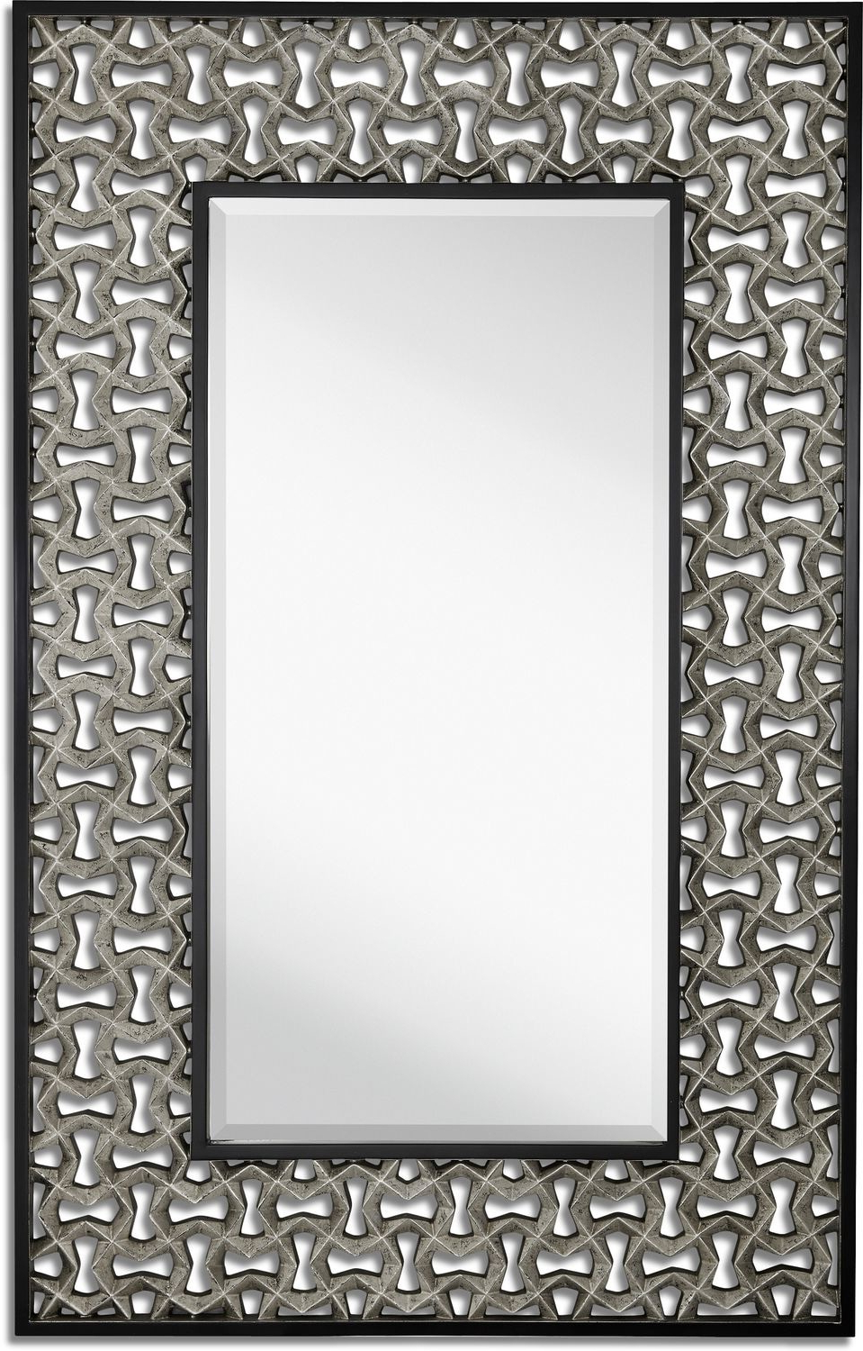 Most Recently Released Silver Leaf Wall Mirror – Black With Silver Leaf Wall Mirrors (View 10 of 20)