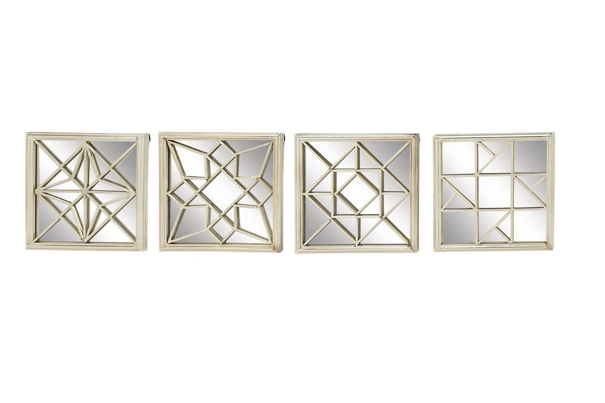 Most Recently Released Square Wall Mirror Sets Intended For Modern Reflections Square Geometric Wall Mirrors (Set Of 4) In Silveruma (Gallery 14 of 20)