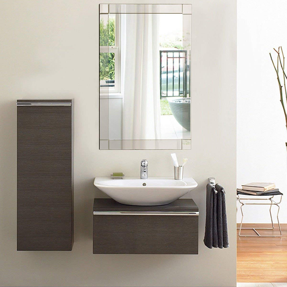 Most Recently Released Tangkula Wall Mirror Vanity Mirror Home Bathroom Office Bedroom Frameless Hanged Rectangle Make Up Mirror (wall Mounted Rectangular) In Eriq Framed Wall Mirrors (View 12 of 20)