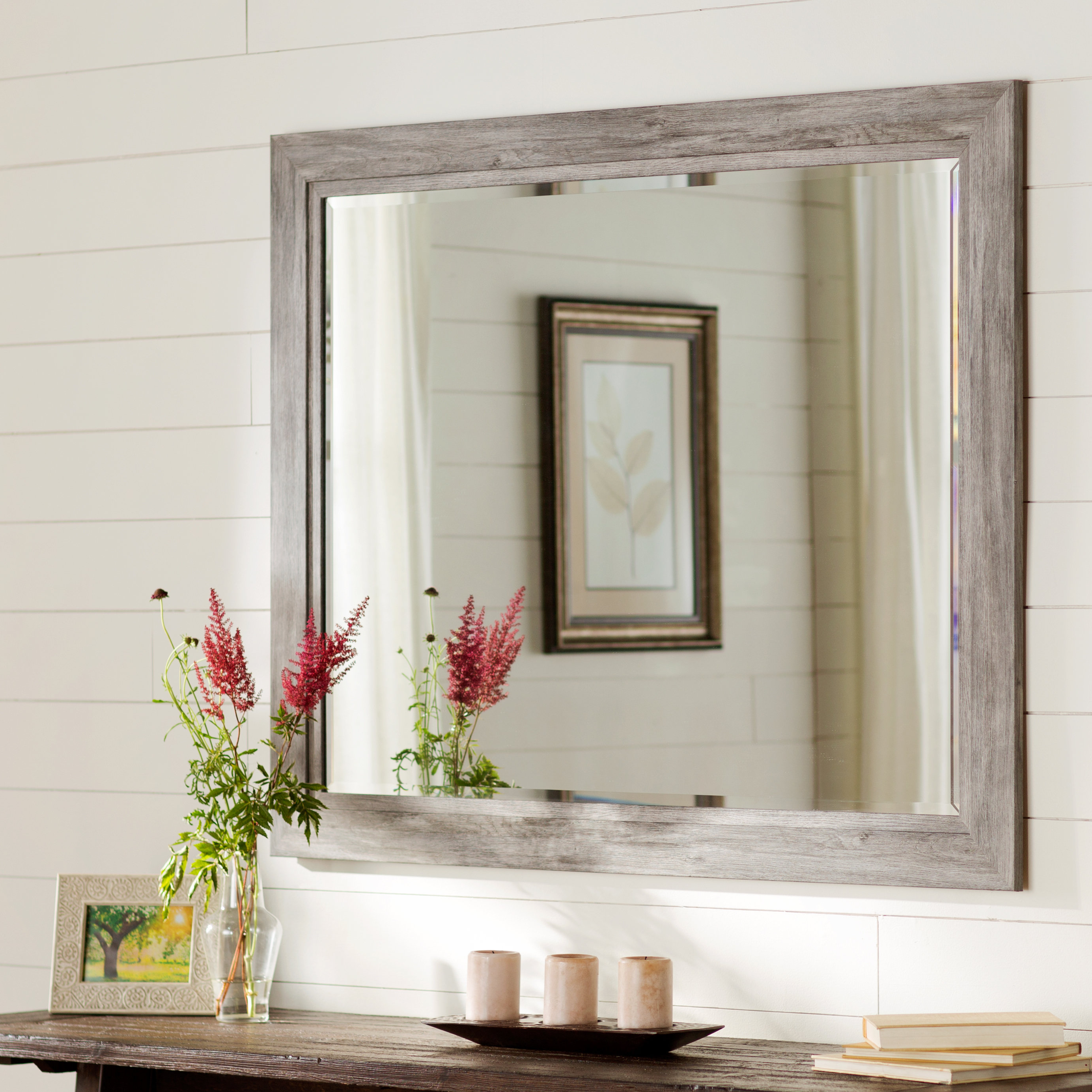 Most Recently Released Traditional Beveled Accent Mirror Pertaining To Landover Rustic Distressed Bathroom/vanity Mirrors (View 17 of 20)