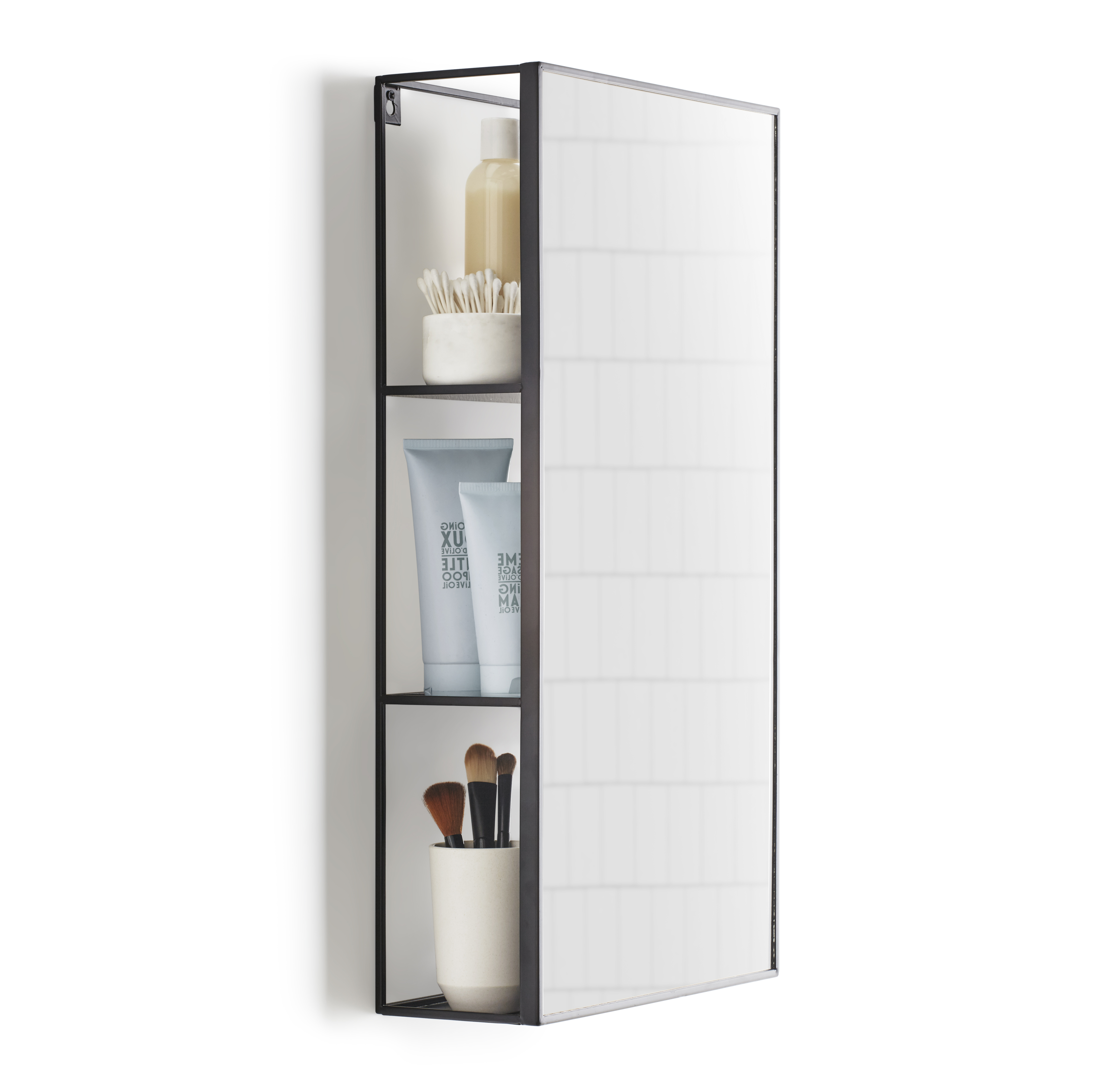 Most Recently Released Umbra Cubiko Wall Mirror And Storage Black Uk Regarding Wall Mirrors With Storages (View 12 of 20)