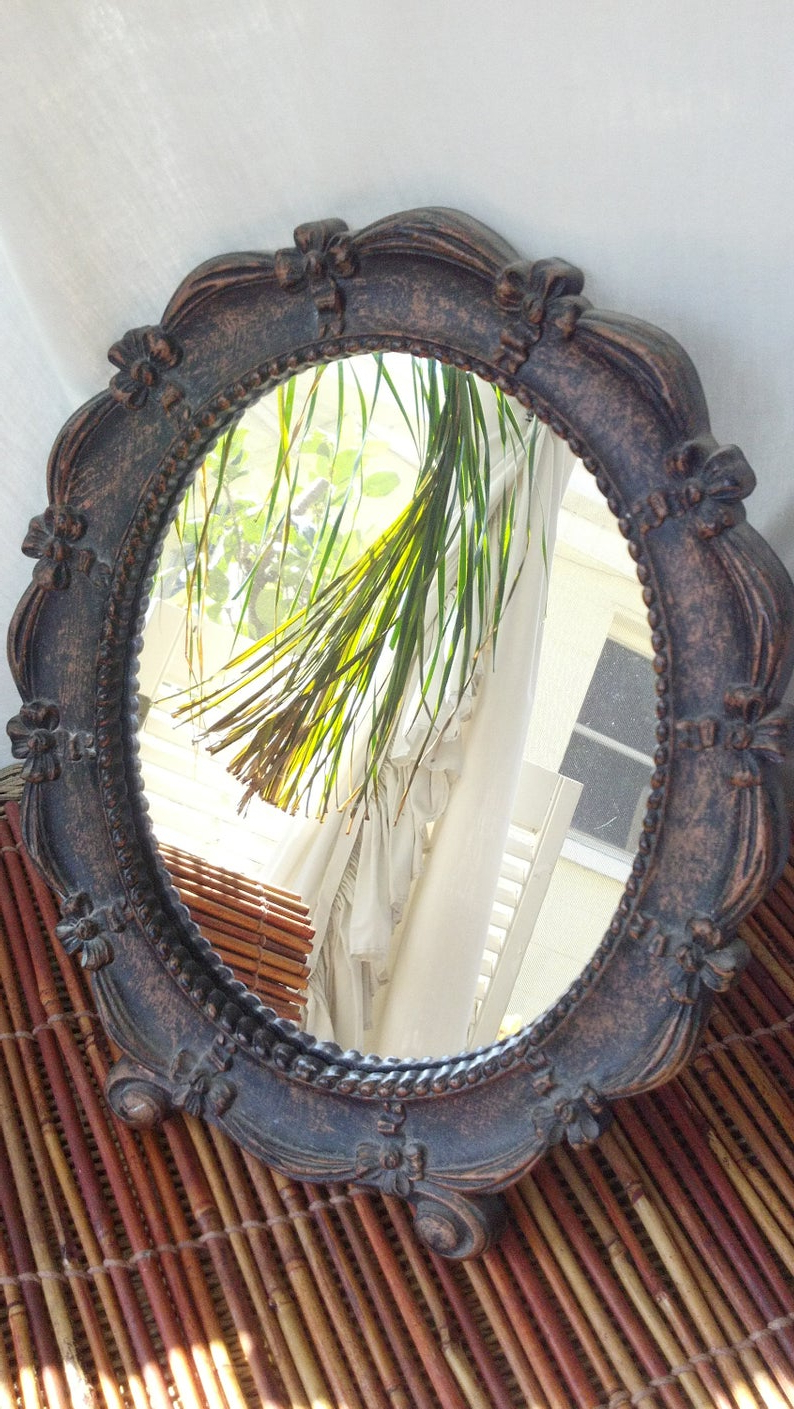Most Recently Released Vintage Syroco Mirror, Wall Mirror, Stand Up Oval, Ornate, Wedding, Decor,  Syroco In Stand Up Wall Mirrors (Gallery 17 of 20)