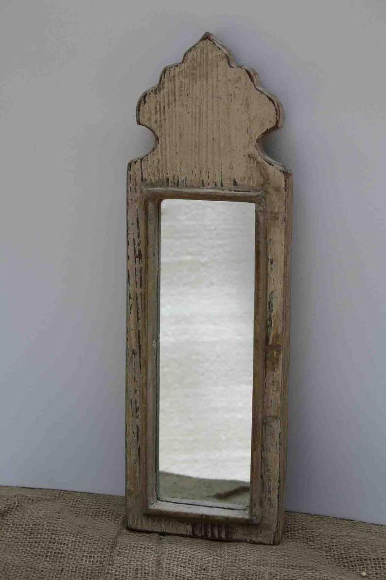 Most Recently Released Vintage Wall Mirrors Intended For Wood Vintage Wall Mirror Wood Moroccan Mirror Distressed Look Mirror Wood Wall Mirror Antique Dressing Mirror (View 12 of 20)