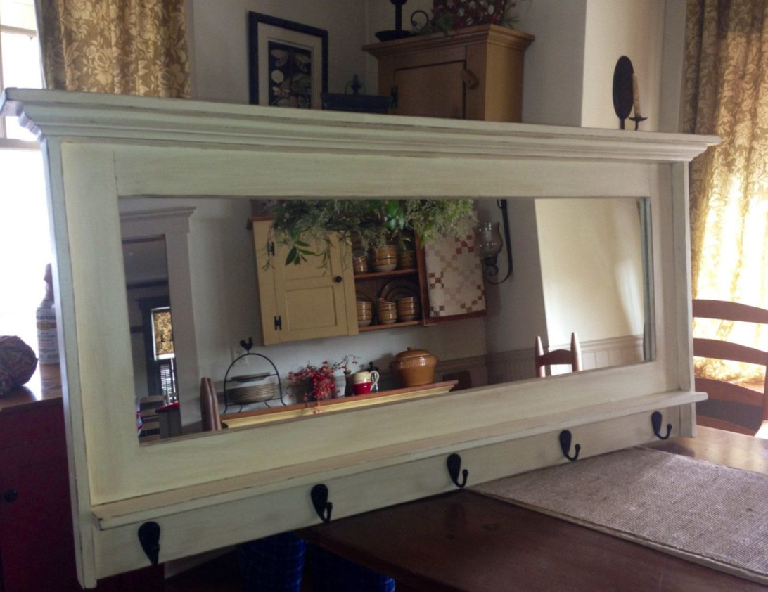 Most Recently Released Wall Mirror With Coat Hooks Intended For Wall Mounted Coat Rack With Storage Modern Hall Mirror Shelf And (View 6 of 20)