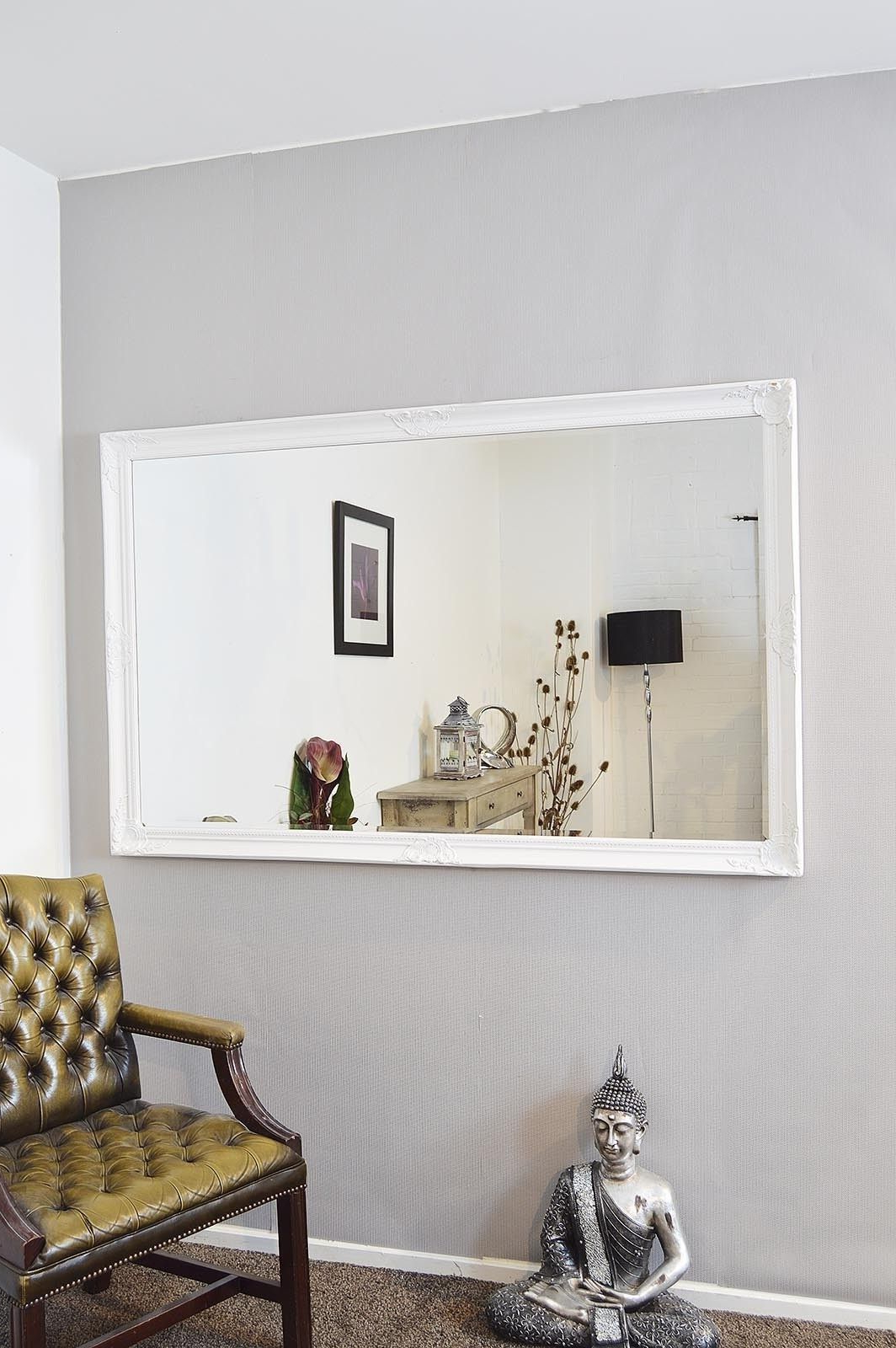 Most Recently Released White Frame Wall Mirrors Pertaining To Extra Large White Full Length Antique Bevelled Wall Mirror (View 3 of 20)