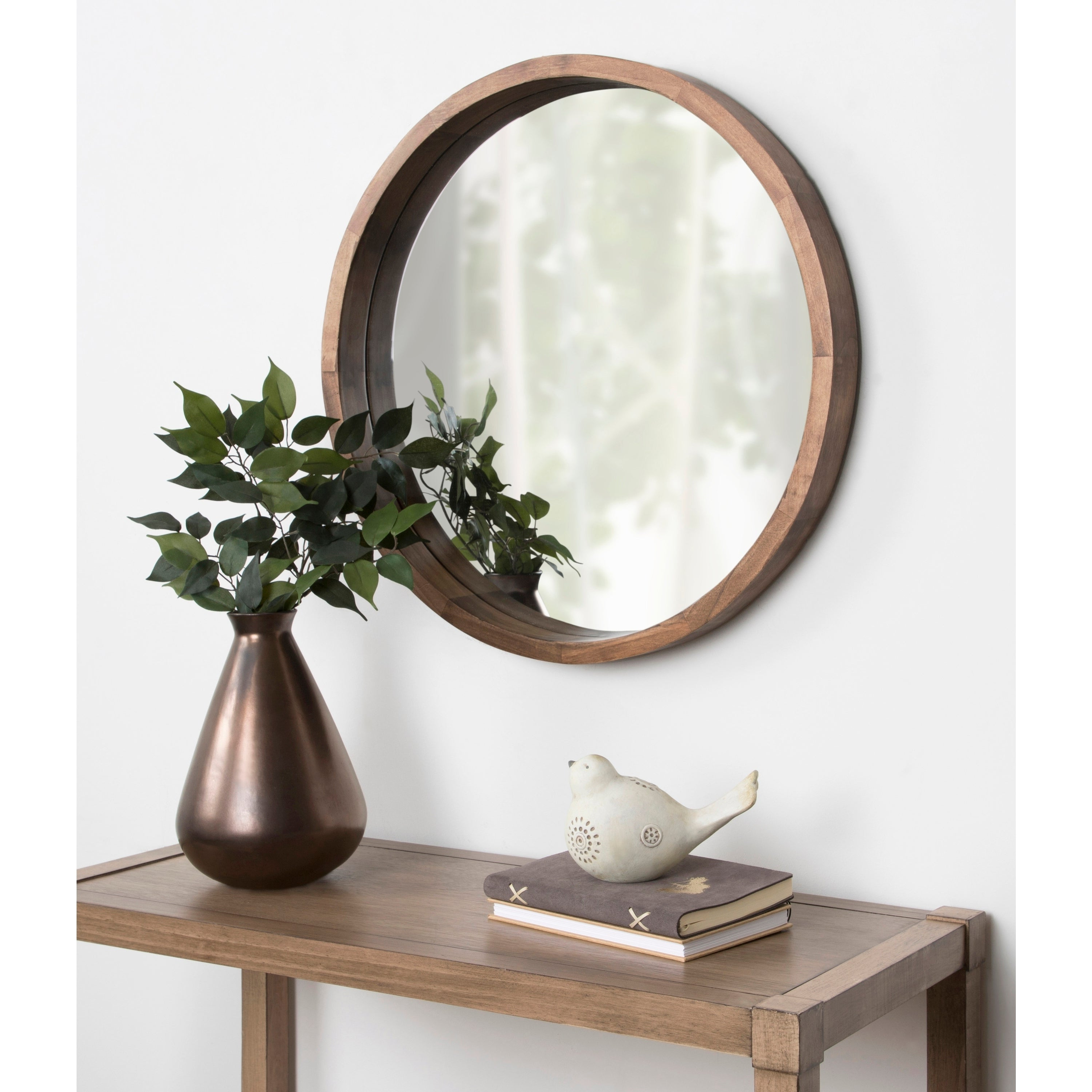 """Most Recently Released Wood Wall Mirrors Within Kate And Laurel Hutton Round Wood Wall Mirror – 22"""" Diameter (View 9 of 20)"""
