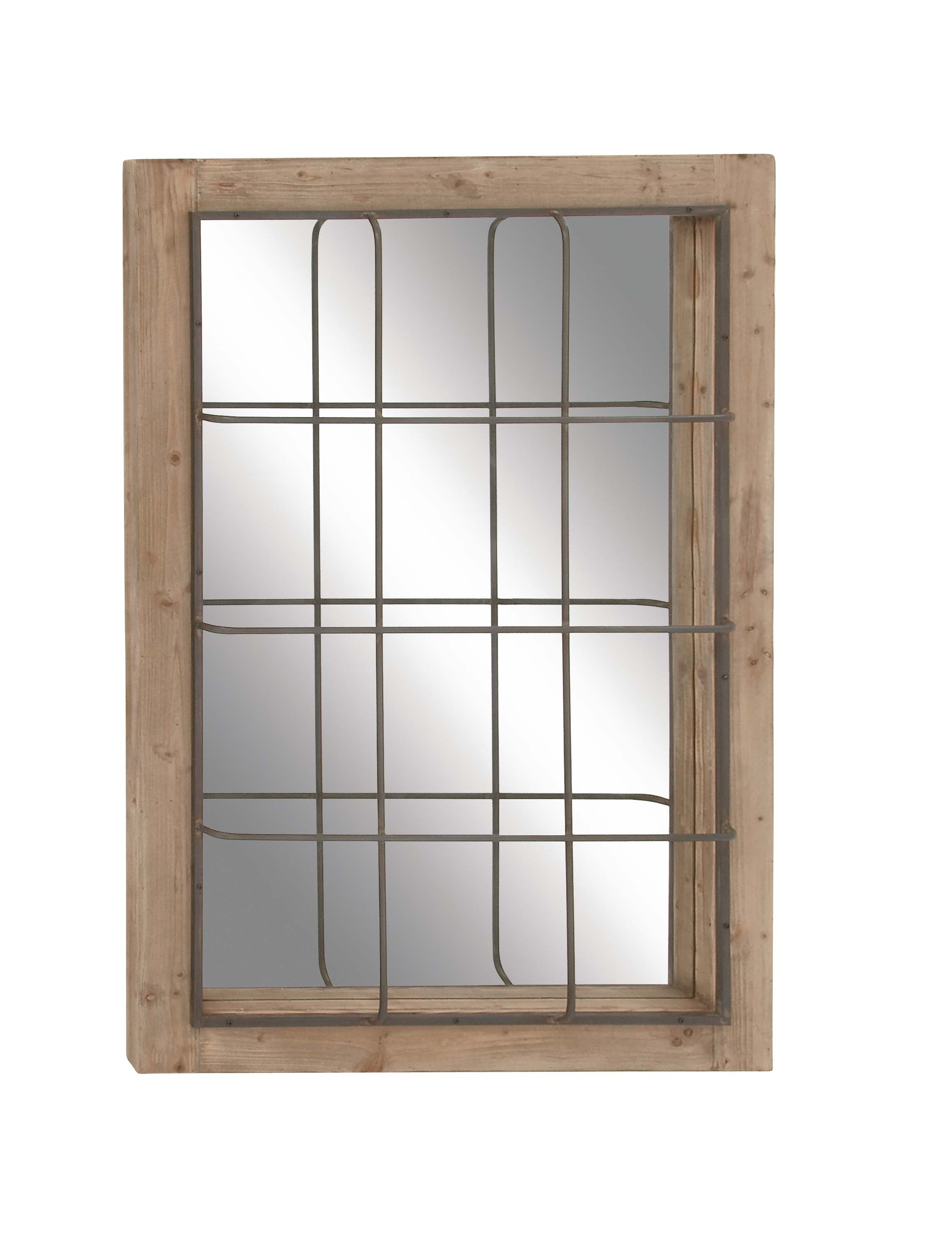 Most Recently Released Wooden Framed Wall Mirrors In Decmode Farmhouse 52 X 36 Inch Rectangular Wooden Framed Wall Mirror With Metal Grid Overlay, Brown (View 4 of 20)