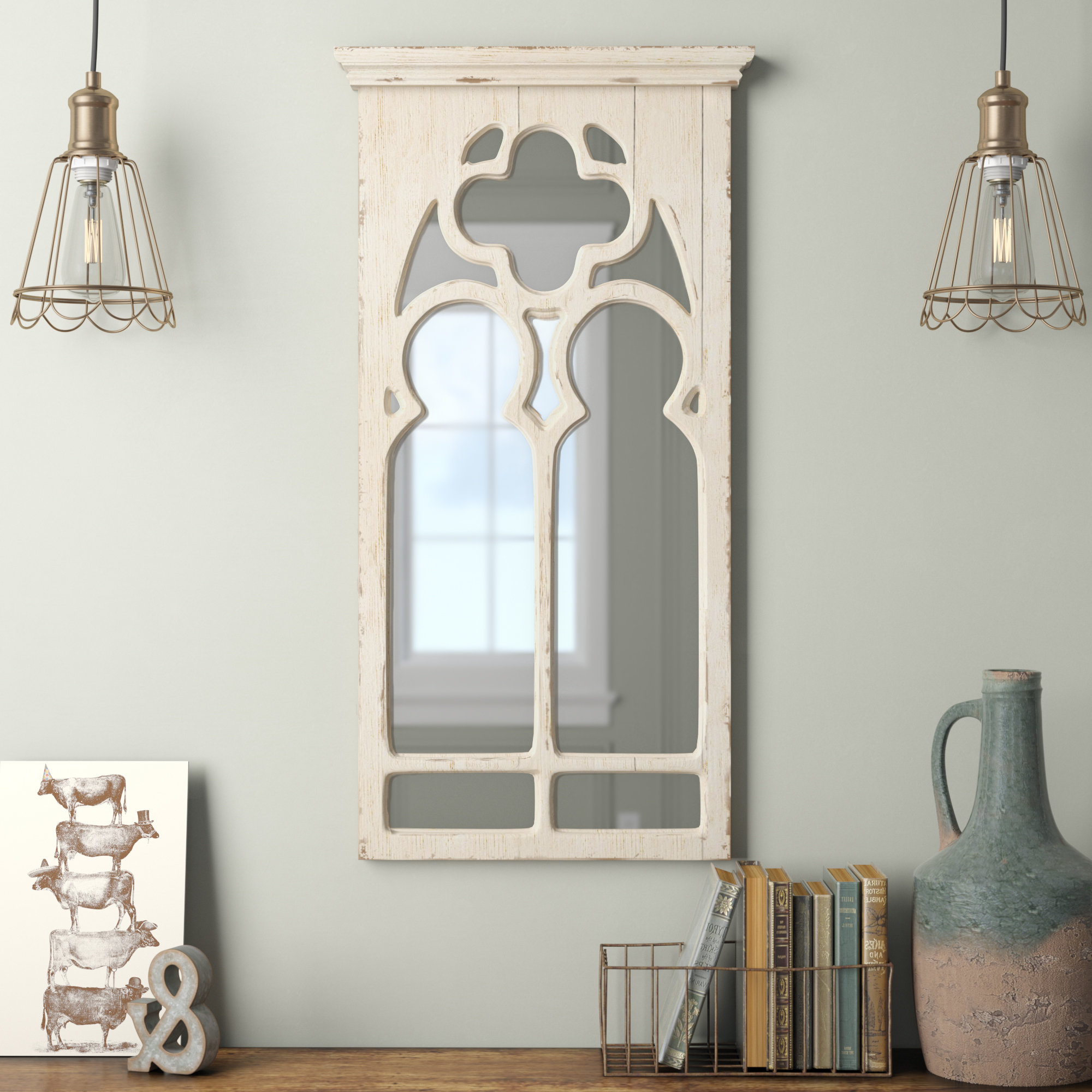 Most Up To Date 2 Piece Kissena Window Pane Accent Mirror Sets With Kincheloe Arch Framed Wall Mirror (View 15 of 20)