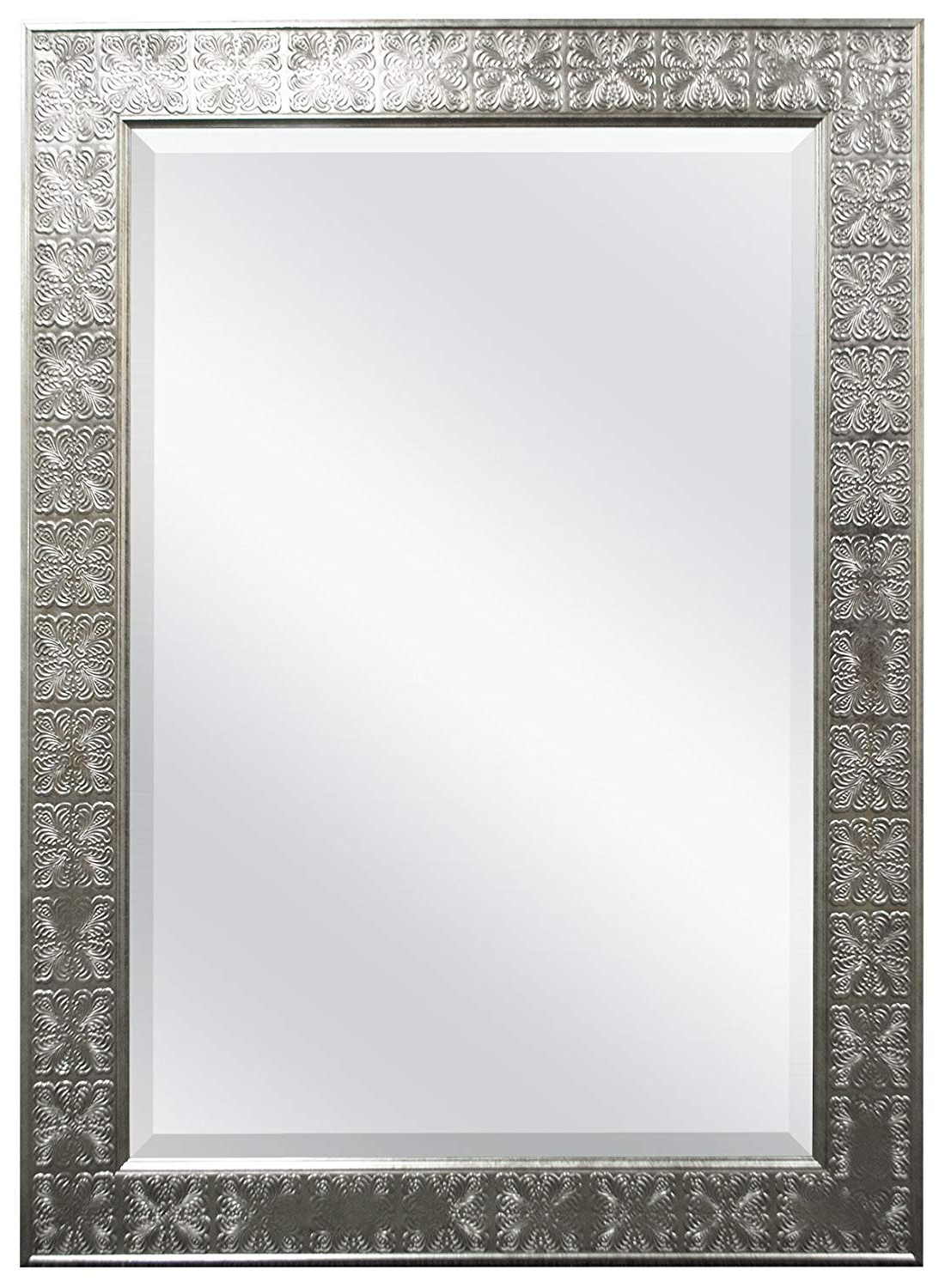 Most Up To Date 24 X 36 Wall Mirrors With Regard To Mcs 24X36 Inch Stamped Medallion Wall Mirror, 32X44 Inch Overall Size,  Champagne Silver (47700), 3244 Inch, (View 16 of 20)