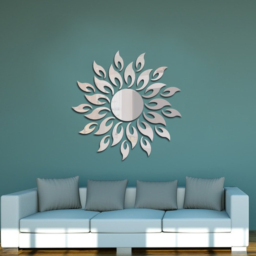 Most Up To Date Anself Acrylic Wall Mirror Stickers Mirror Decal Sunshine Fire Diy Decals Art Decal Room Decoration With Regard To Wall Mirror Decals (View 3 of 20)