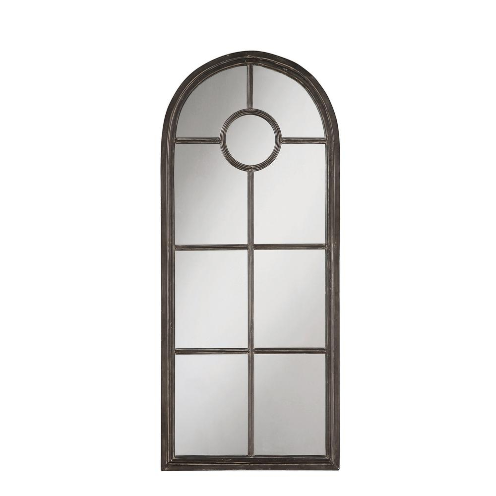 Most Up To Date Arched Distressed Black Metal Decorative Wall Mirror Regarding Metal Arch Window Wall Mirrors (View 16 of 20)