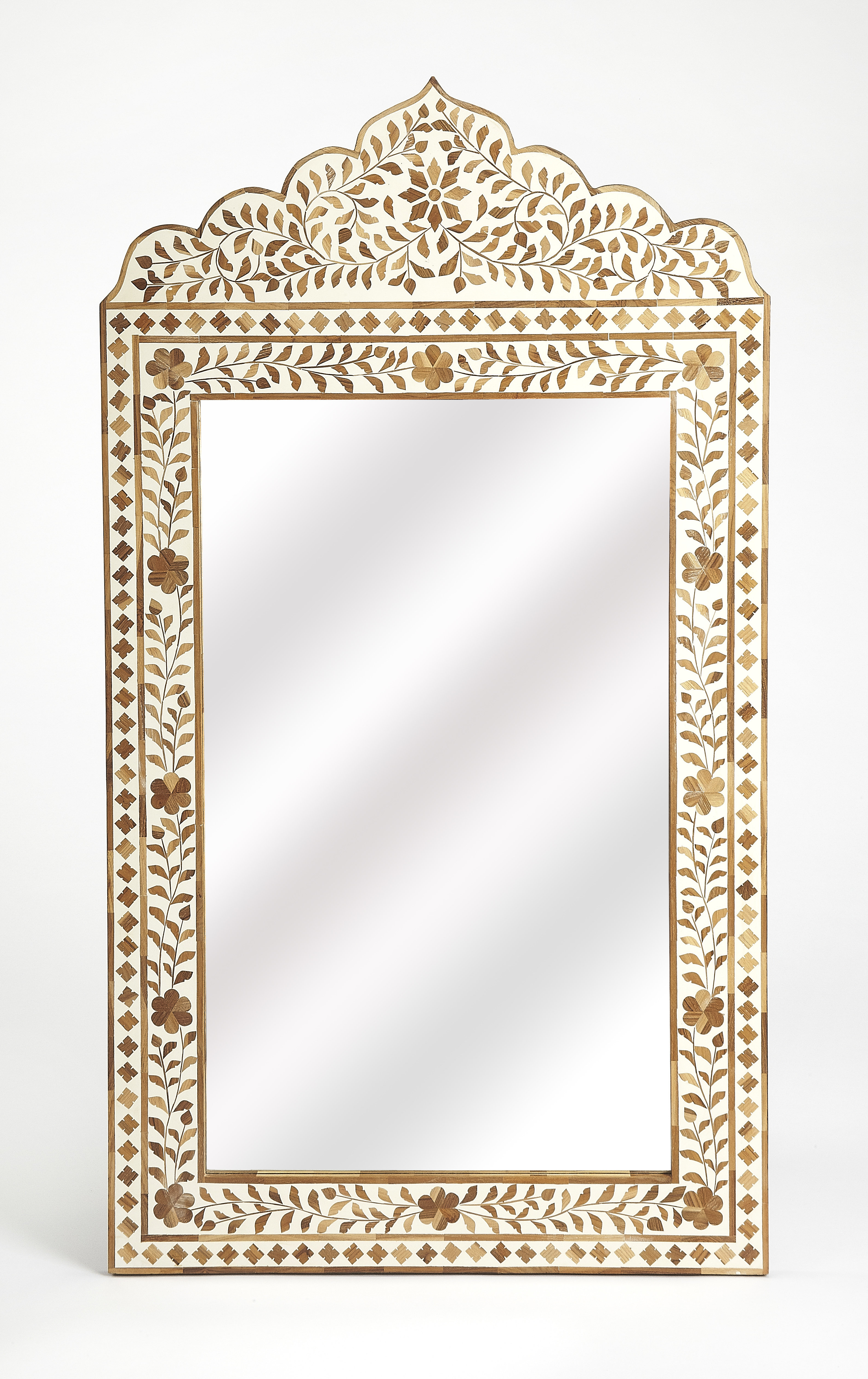 Most Up To Date Arrigo Accent Mirrors Inside Irvington Wood And Bone Inlay Accent Mirror (View 11 of 20)