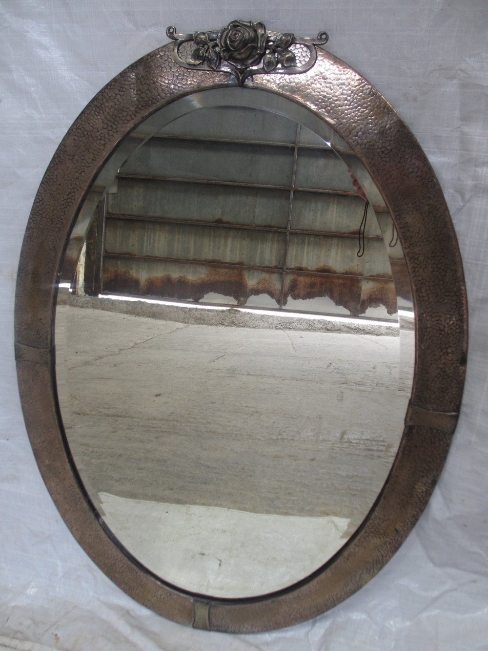 Most Up To Date Arts And Crafts Pewter Oval Framed Bevel Edge Wall Mirror Intended For Pewter Wall Mirrors (View 11 of 20)