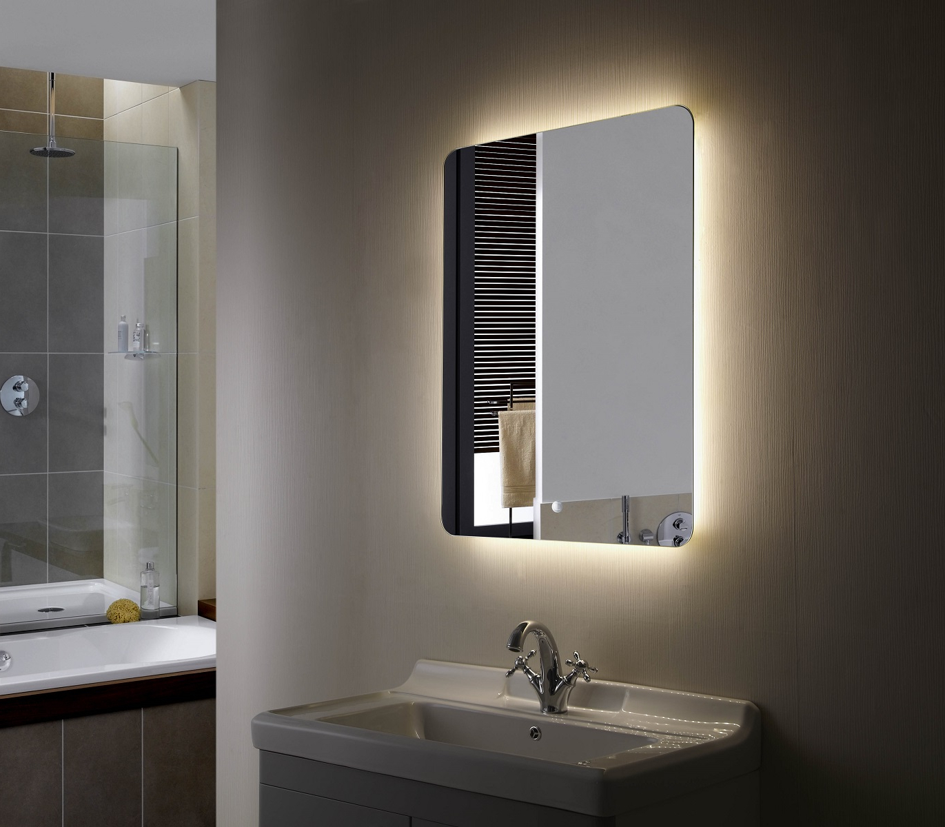 Most Up To Date Backlit Mirror Led Bathroom Mirror Montana With Regard To Backlit Wall Mirrors (View 12 of 20)