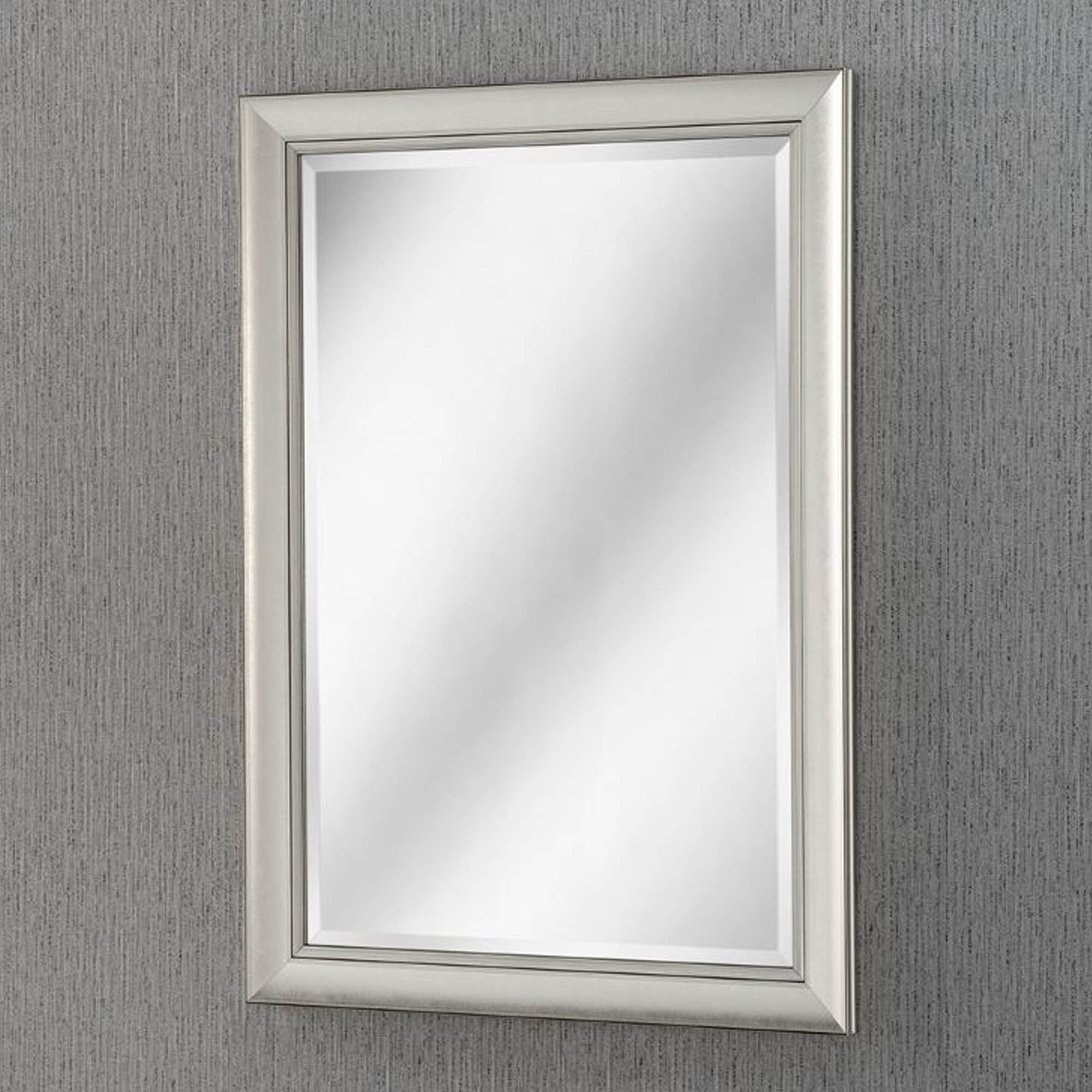 Most Up To Date Bevelled Modern Silver Wall Mirror Inside Black And Silver Wall Mirrors (View 15 of 20)