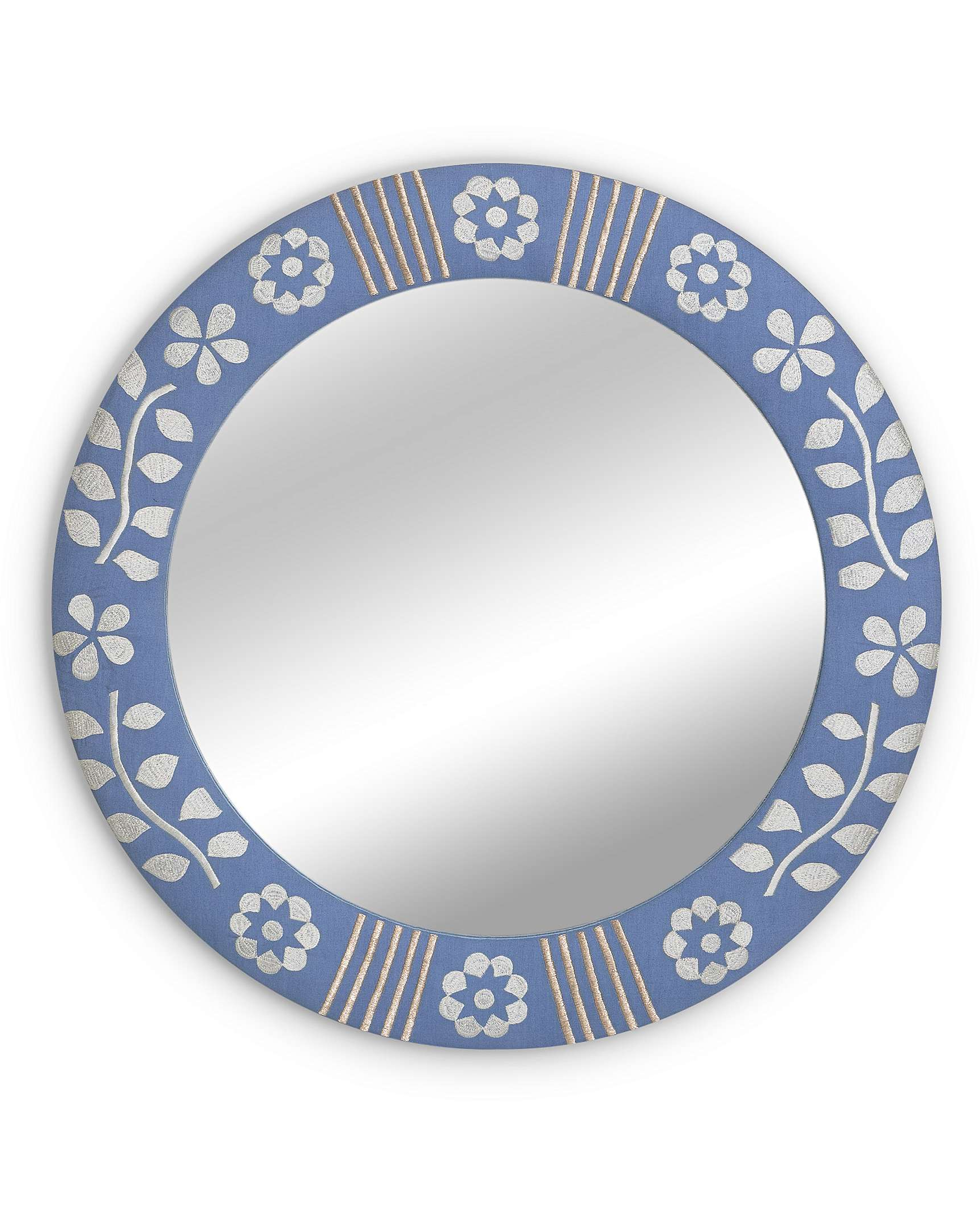 Most Up To Date Blue Wall Mirrors Pertaining To Fabric Embroidered Circle Blue Wall Mirror Small (View 19 of 20)