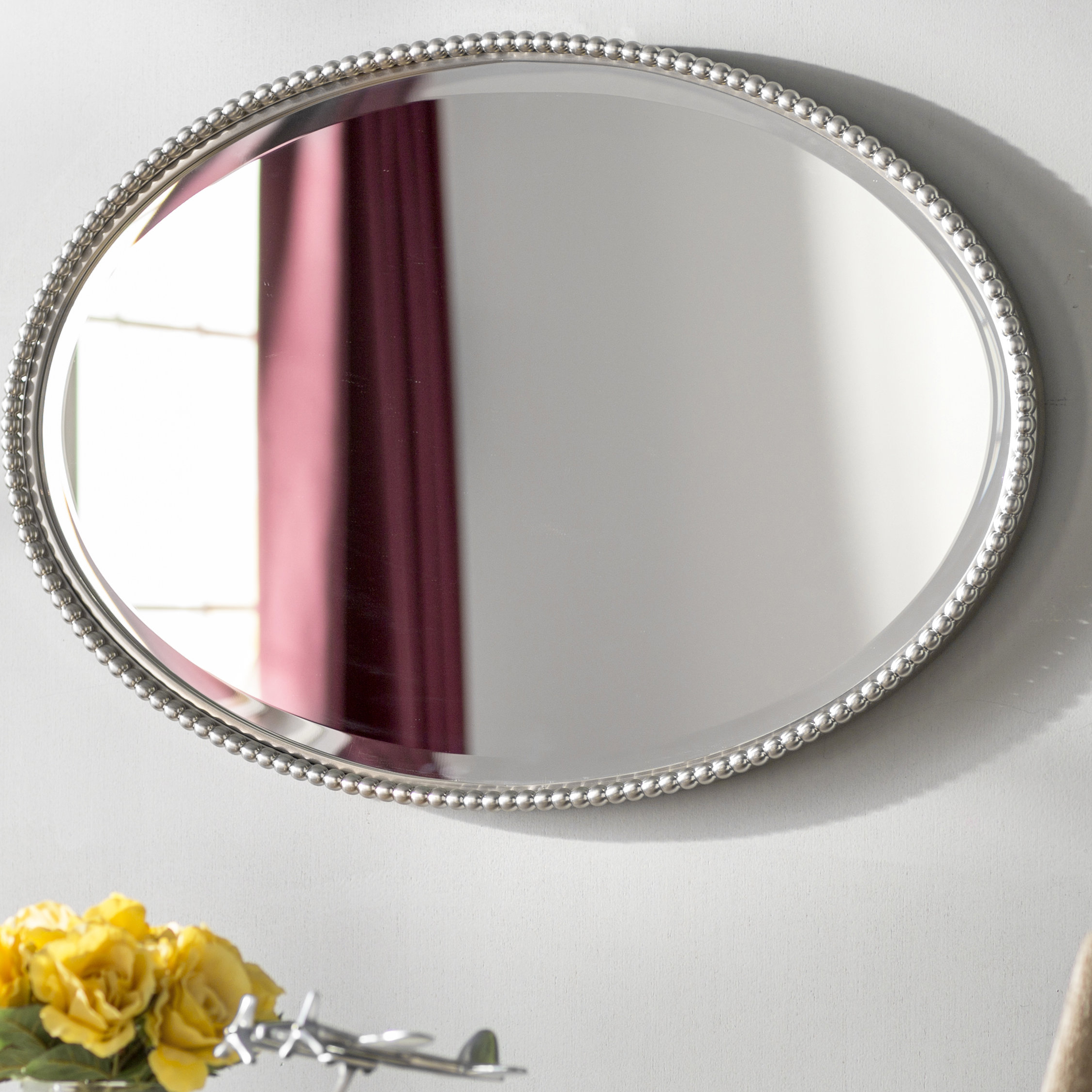 Most Up To Date Burnes Oval Traditional Wall Mirrors With Glen View Beaded Oval Mirror (View 18 of 20)
