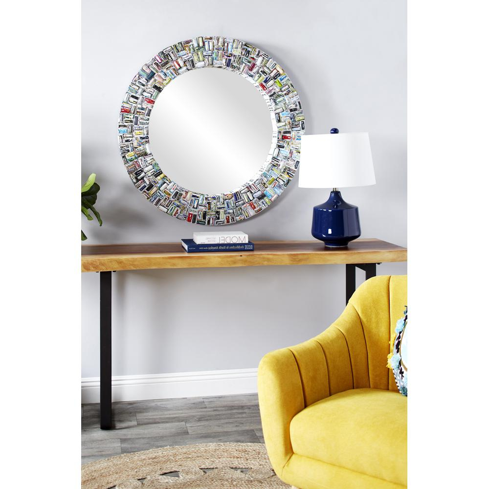 Most Up To Date Colorful Wall Mirrors With Regard To Litton Lane Round Colorful Abstract Art Wall Mirror 38993 – The Home (View 9 of 20)
