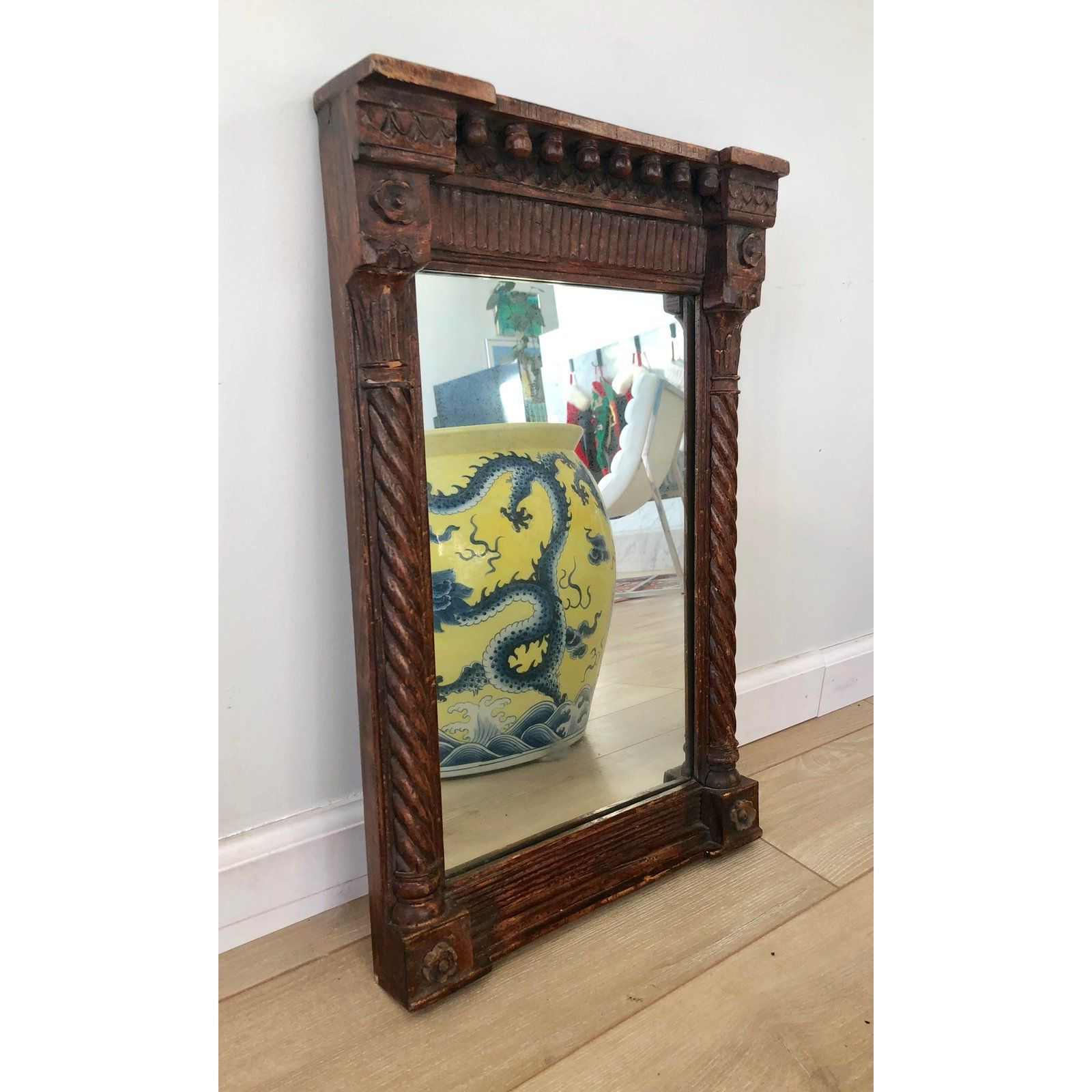 Most Up To Date Dark Wood Wall Mirrors With Regard To Antique Hand Carved Wooden Wall Mirror In 2019 (Gallery 7 of 20)