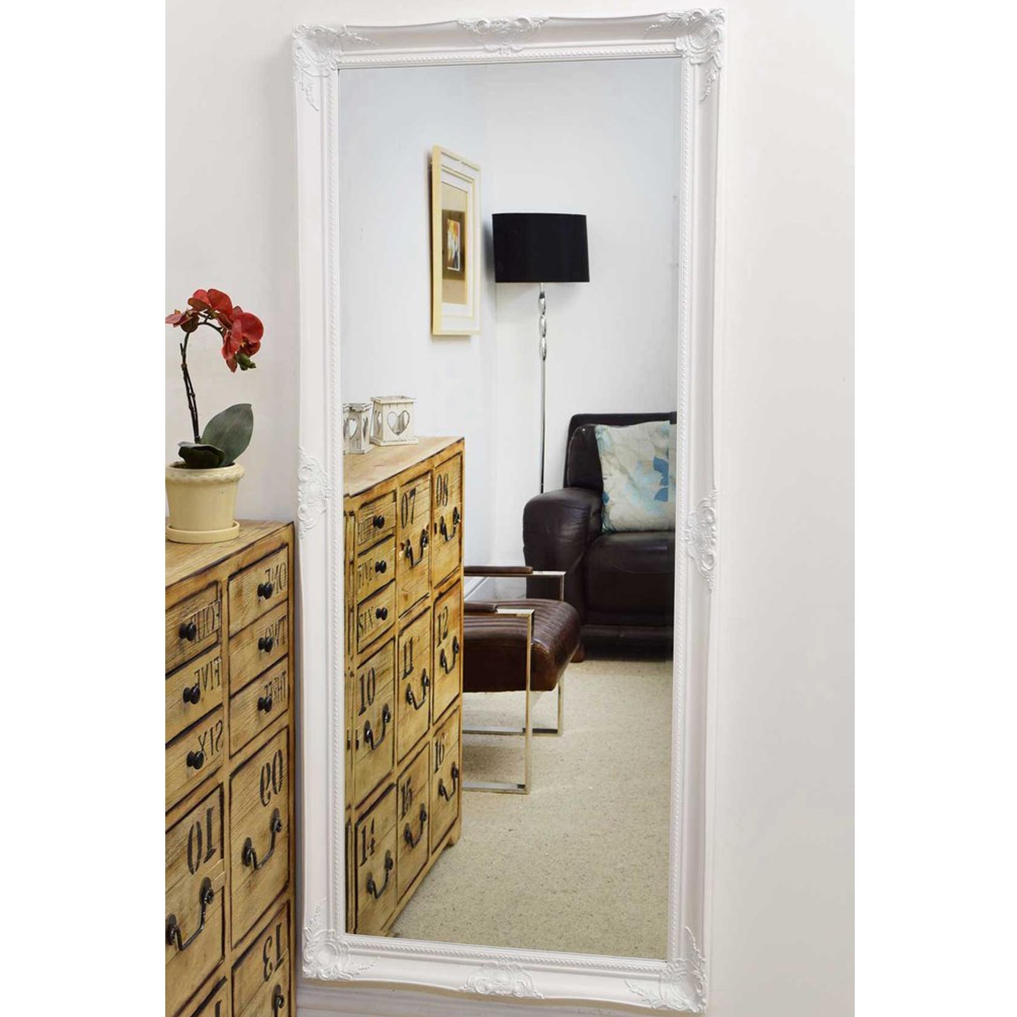 Most Up To Date Decorative Thin White Antique French Style Wall Mirror With Regard To Wall Mirrors With Drawers (View 14 of 20)