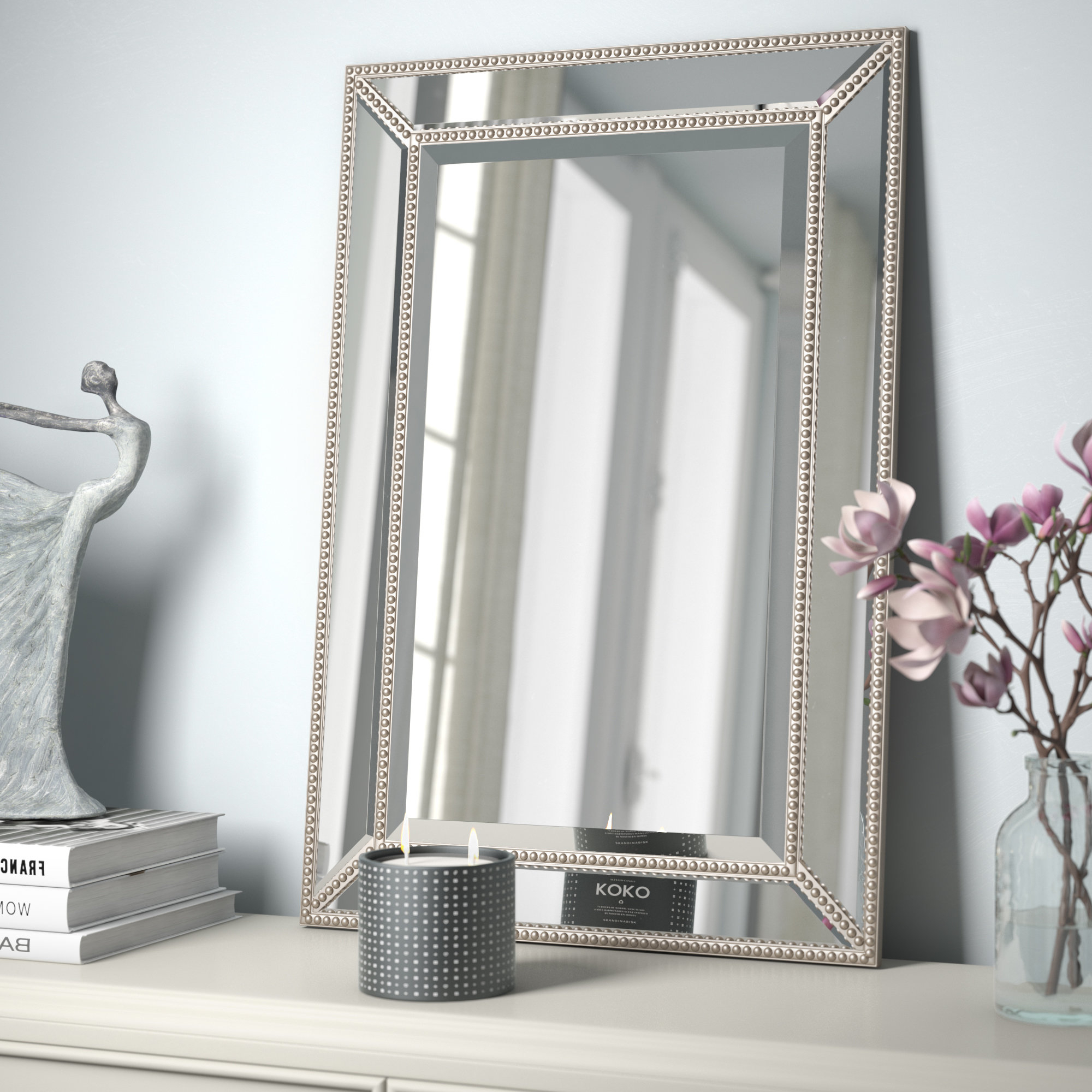Most Up To Date Eriq Framed Wall Mirrors Intended For Lake Park Beveled Beaded Accent Wall Mirror (View 2 of 20)